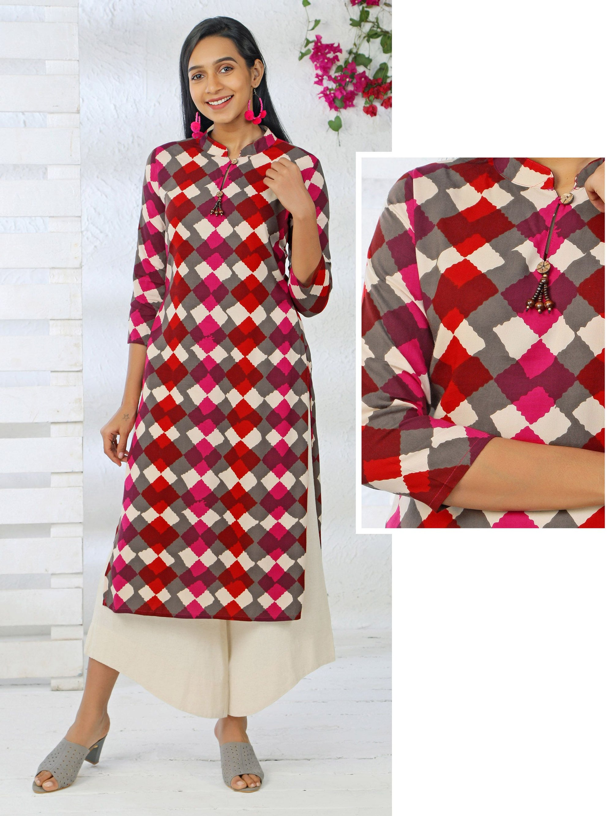 Abstract Diamond Printed, Wooden Bead Tasseled Rayon Kurti