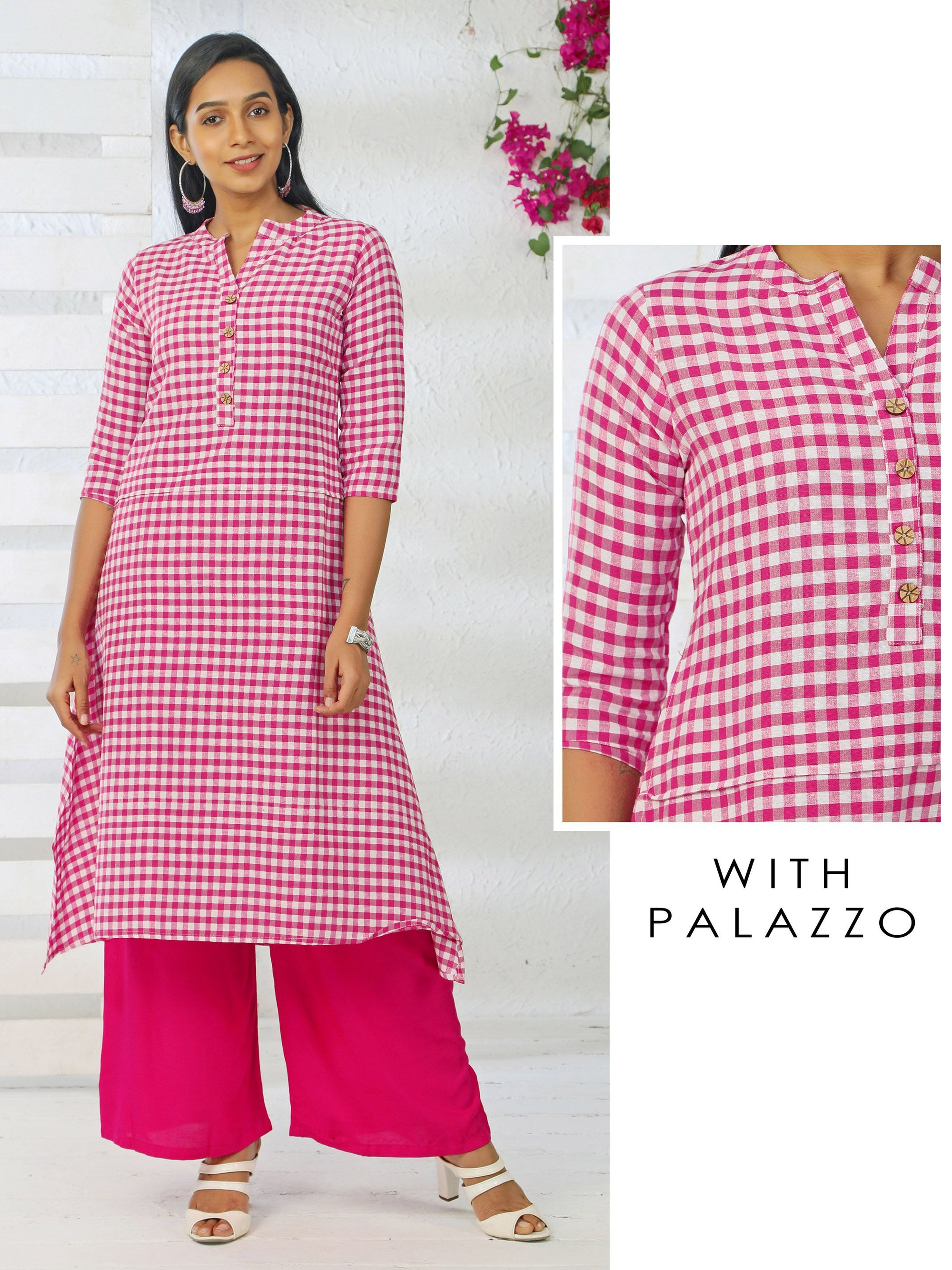 Gingham Checked Chakra Button Kurti & Solid Palazzo Set