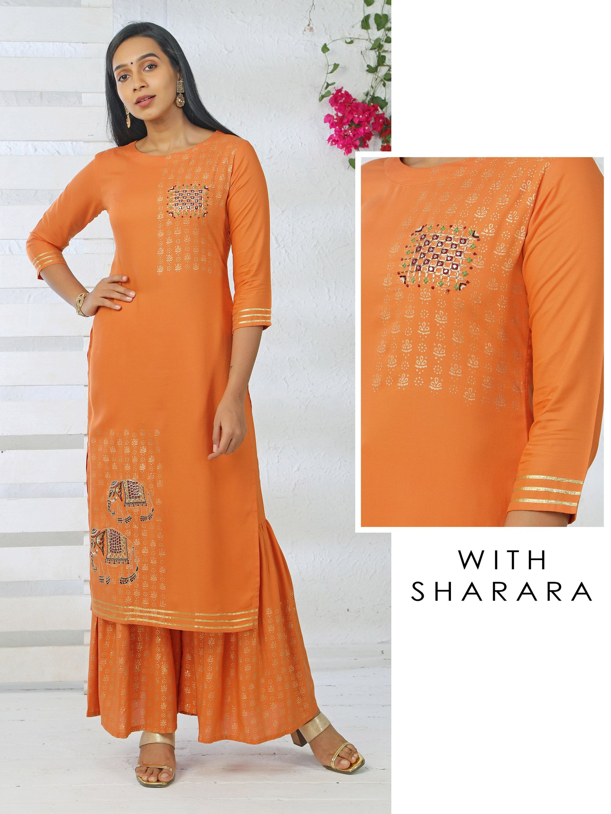 Elephant Embroidered Mirror Work Kurti & Foil Printed Sharara Set