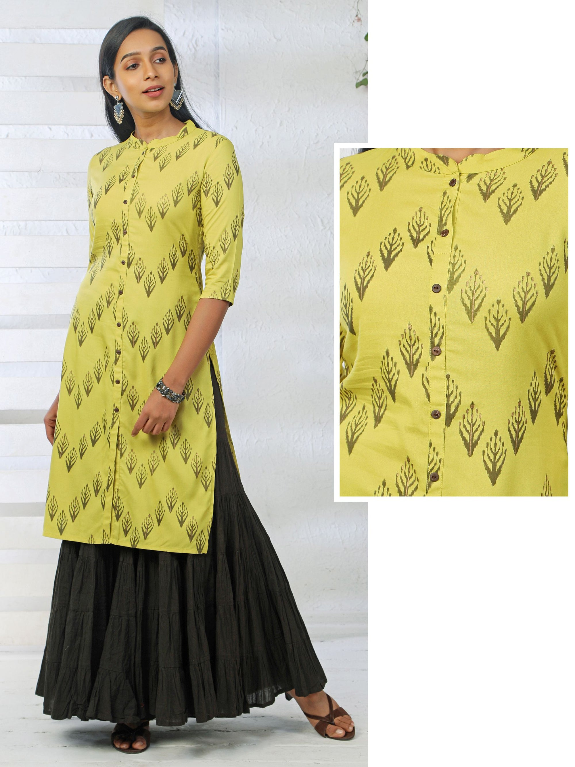 Abstract Printed  Rayon Kurti