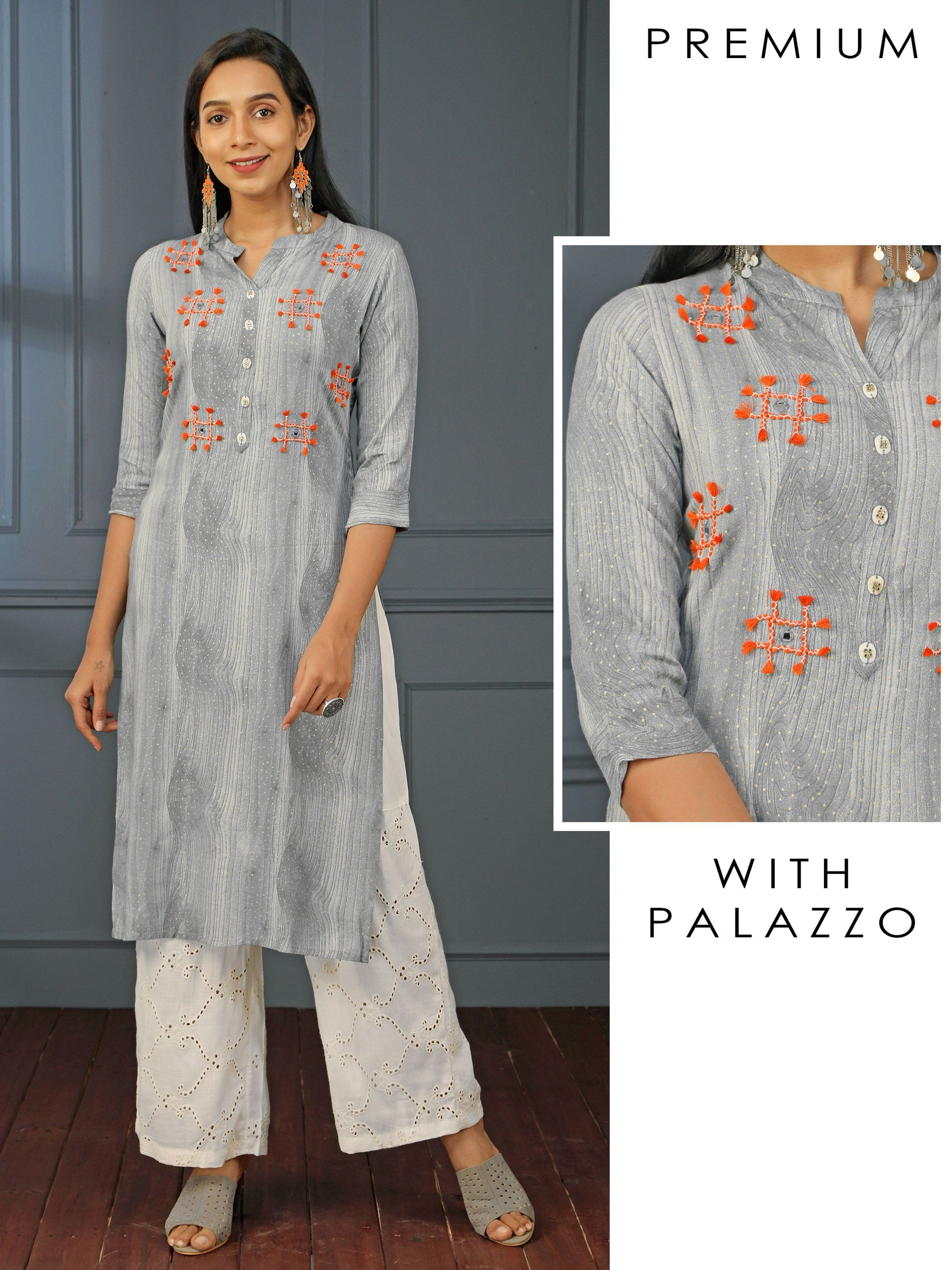 Tassel Embroidered Wooden Printed Kurti & Schiffli Embroidered Palazzo Set - Grey