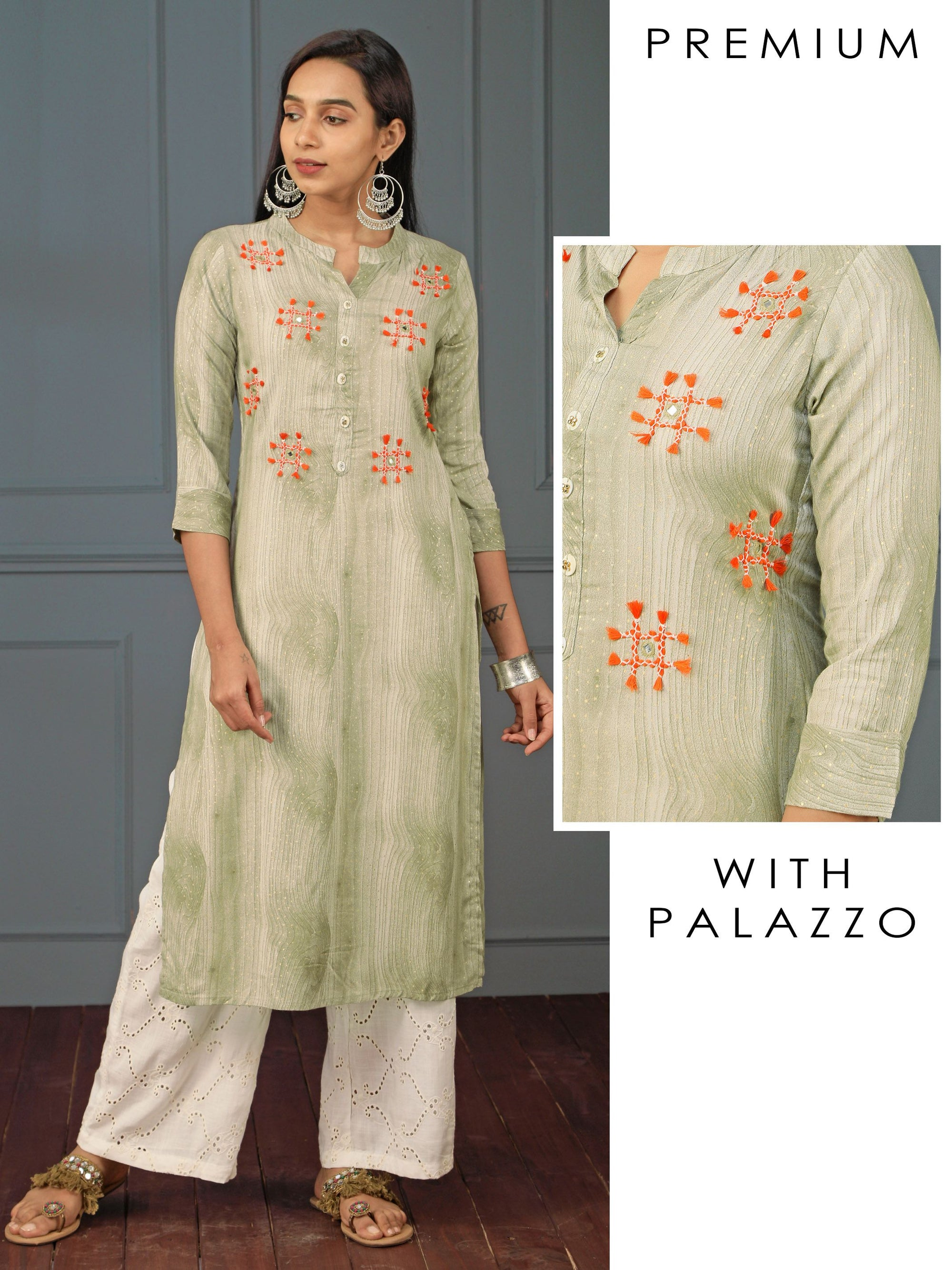 Tassel Embroidered Wooden Printed Kurti & Schiffli Embroidered Palazzo Set - Green