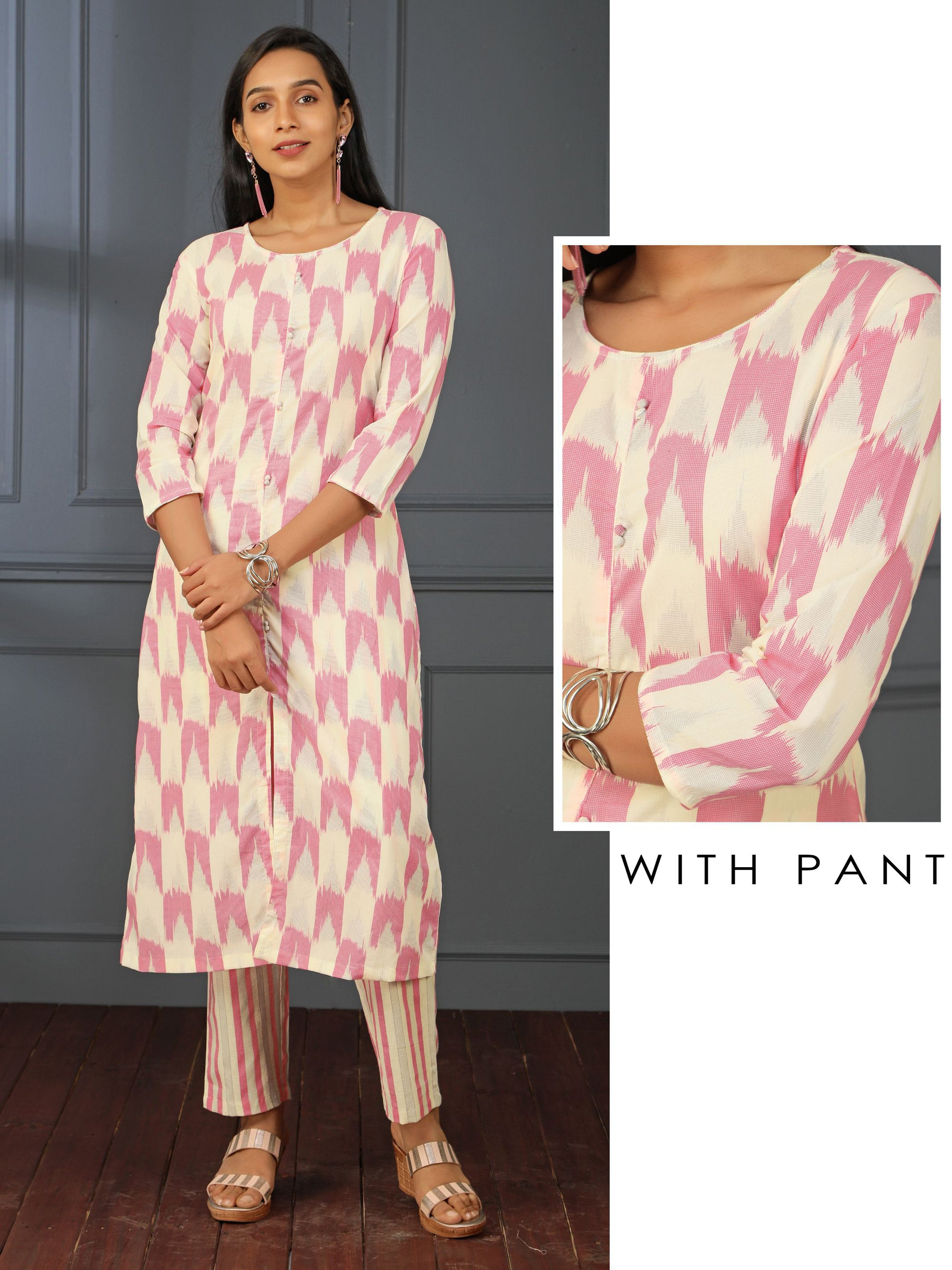 Ikkat Printed Potli Buttoned Kurti & Cabana Striped Pant Set