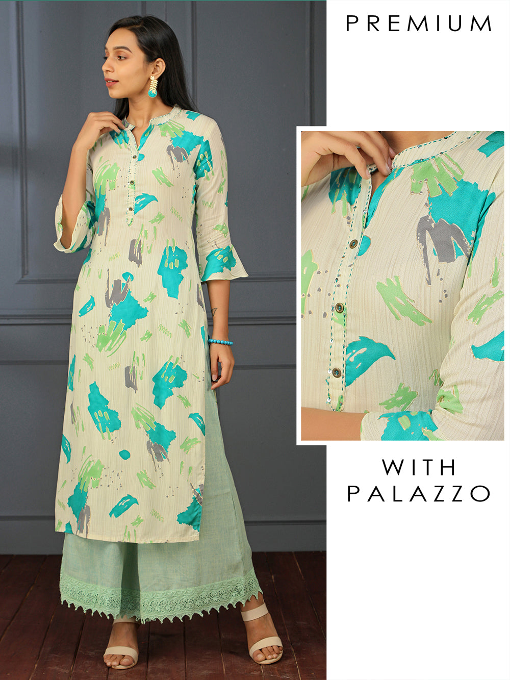 Artistic Splash Printed Kurta With Lace Palazzo
