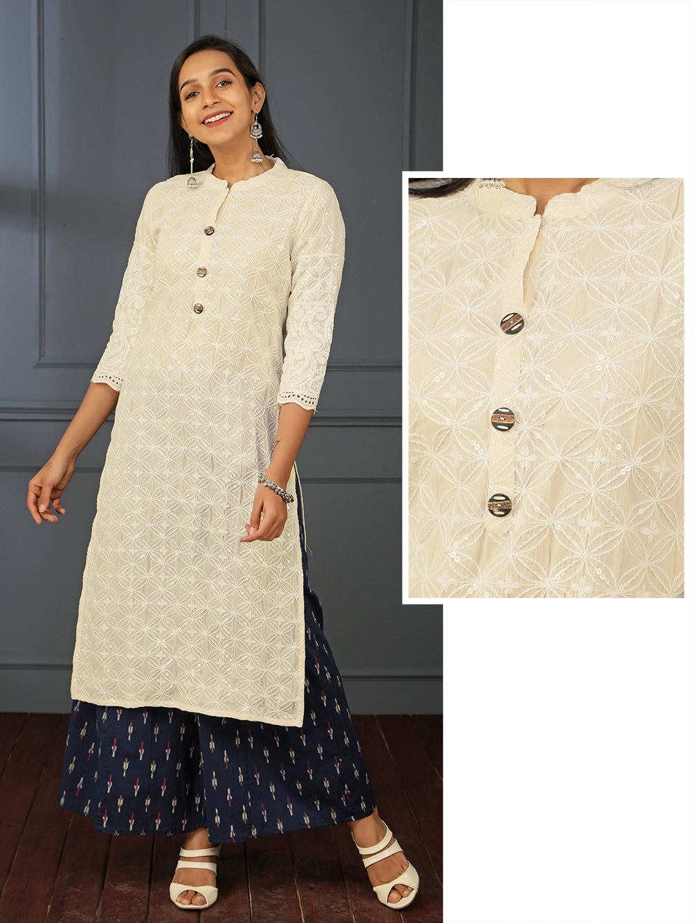 Transparent Sequins & Thread Embroidered Cotton Kurti