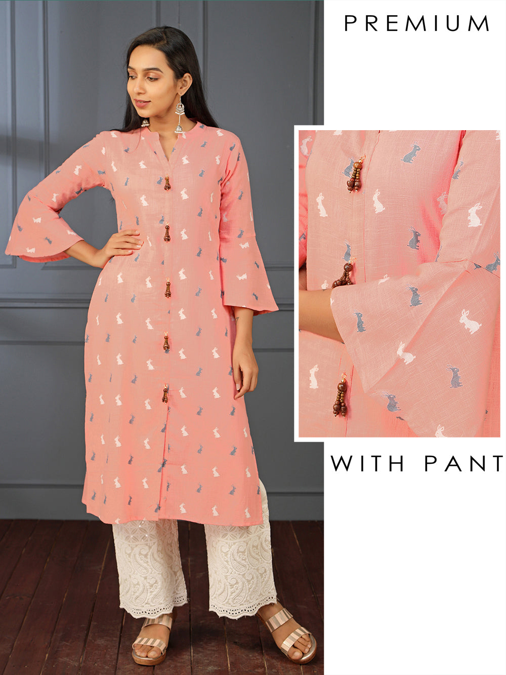Rabbit Printed Kurti & Scalloped Embroidery Palazzo Set
