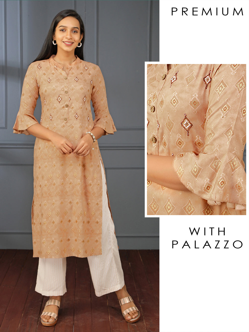 Hand Embroidered Kurti with Embroidered Palazzo Set