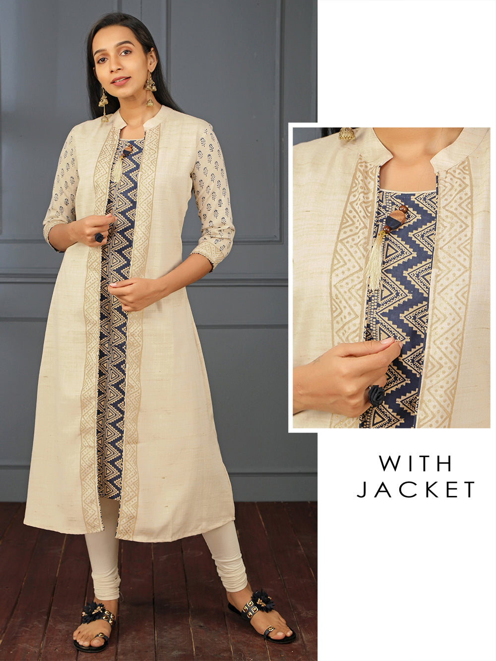 Chevron Printed Long Kurti Attached with Foil Printed Jacket