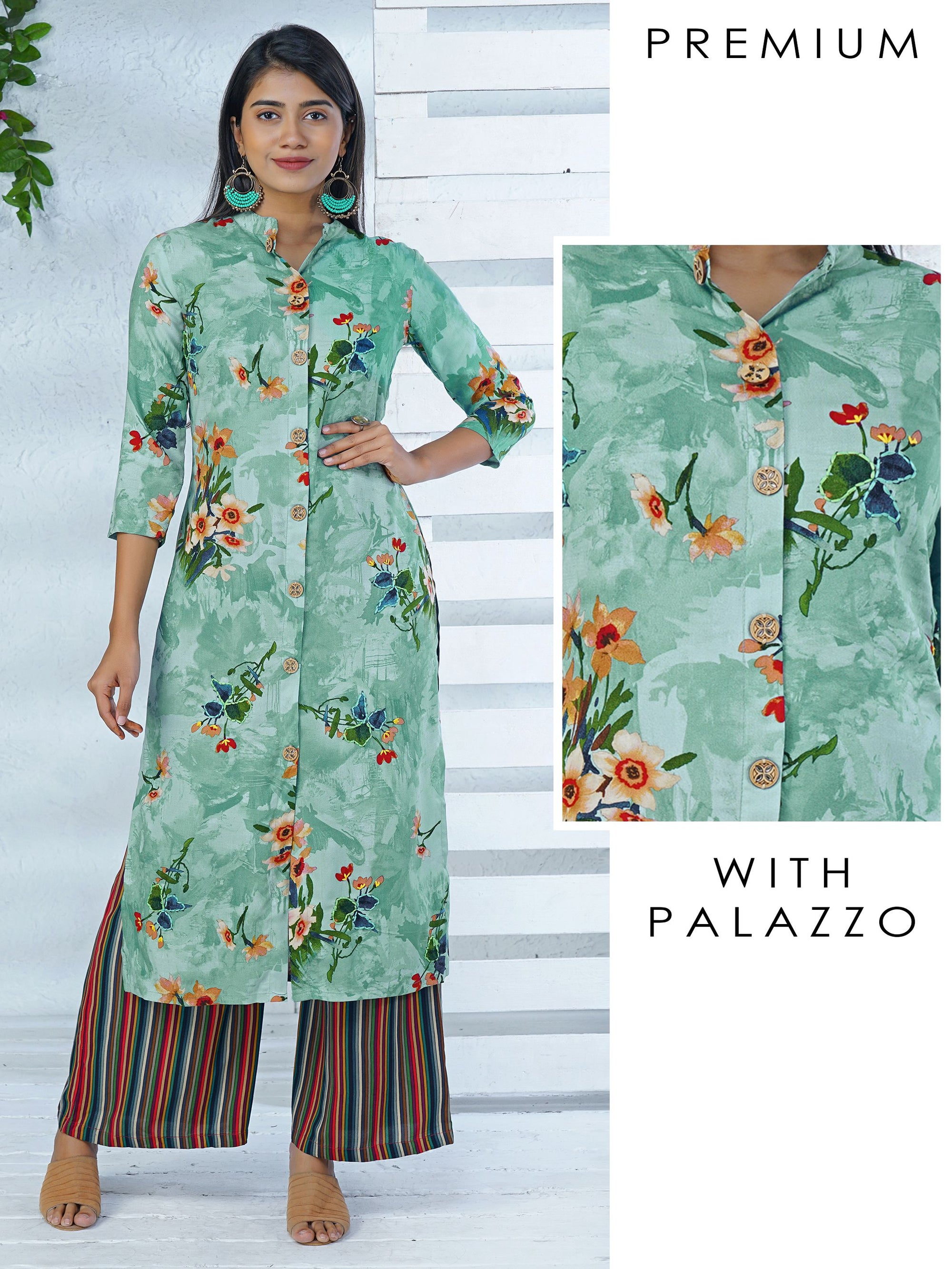 Floral Kurta With Striped Palazzo