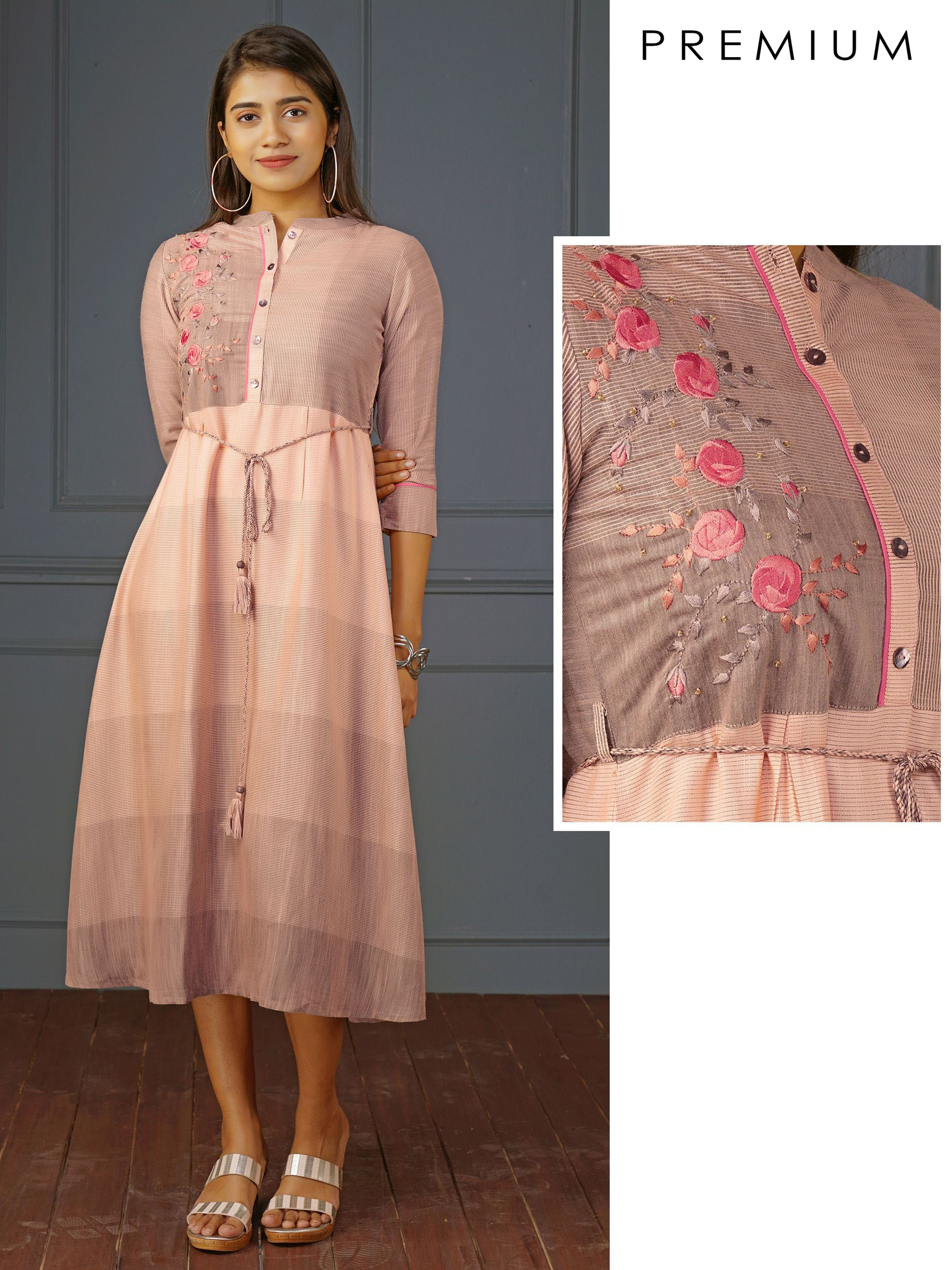 Floral Placement Embroidered & Striped Kurti