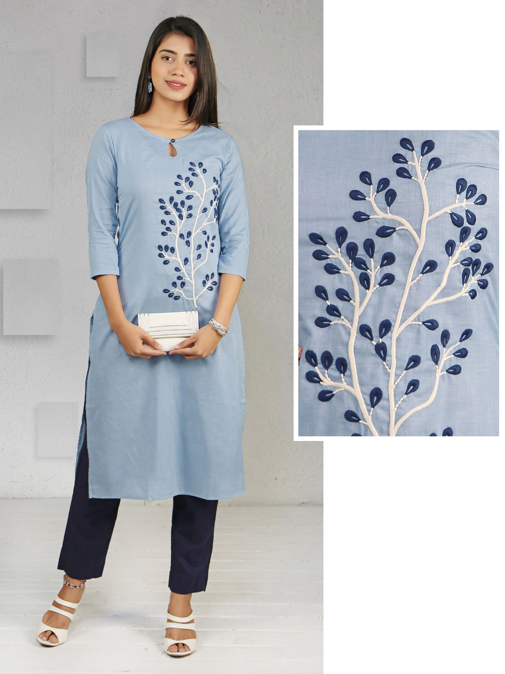 Floral Embroidered Key Hole Neck Kurti