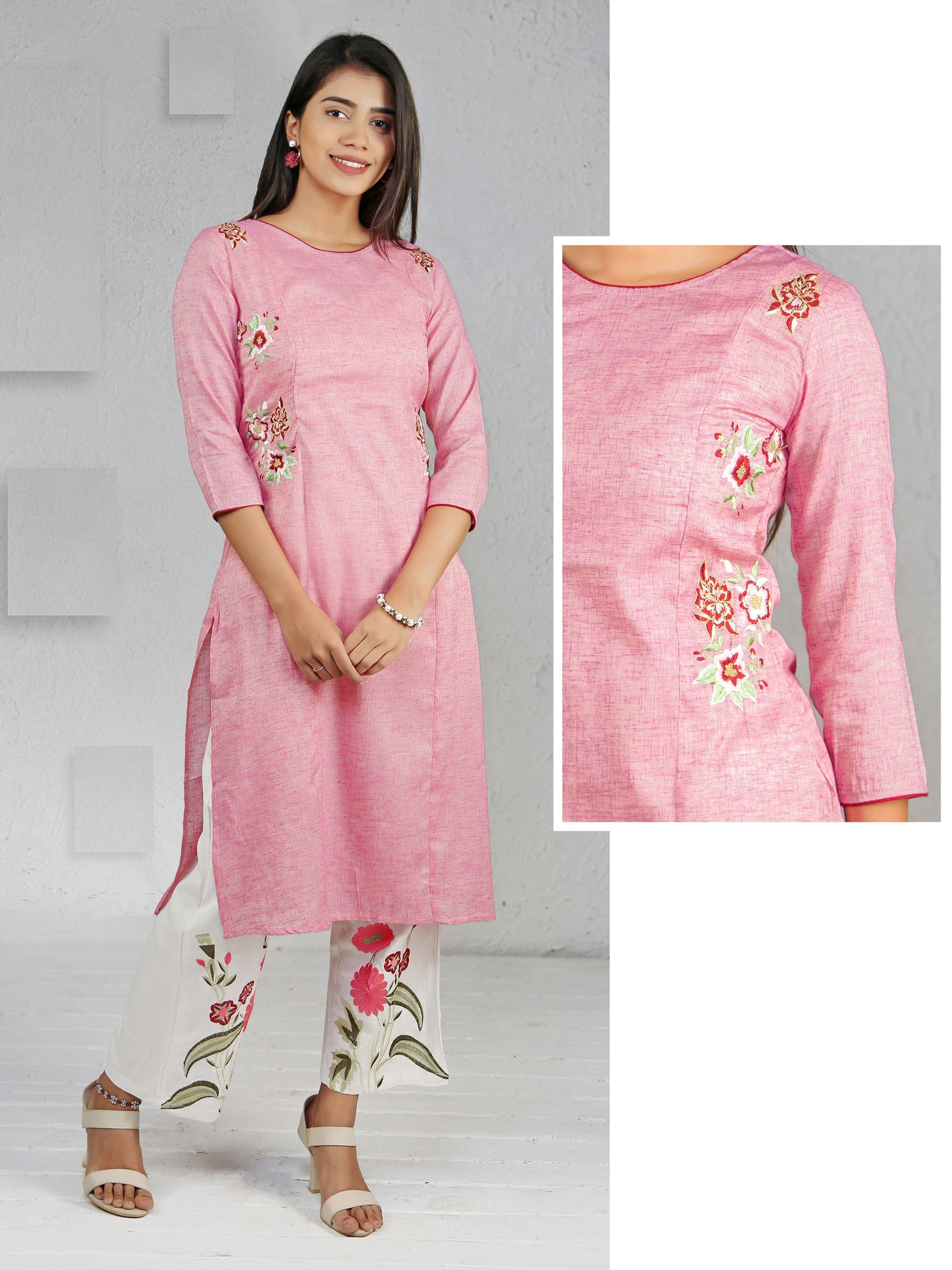 Minimal Floral Embroidered Panel Kurti