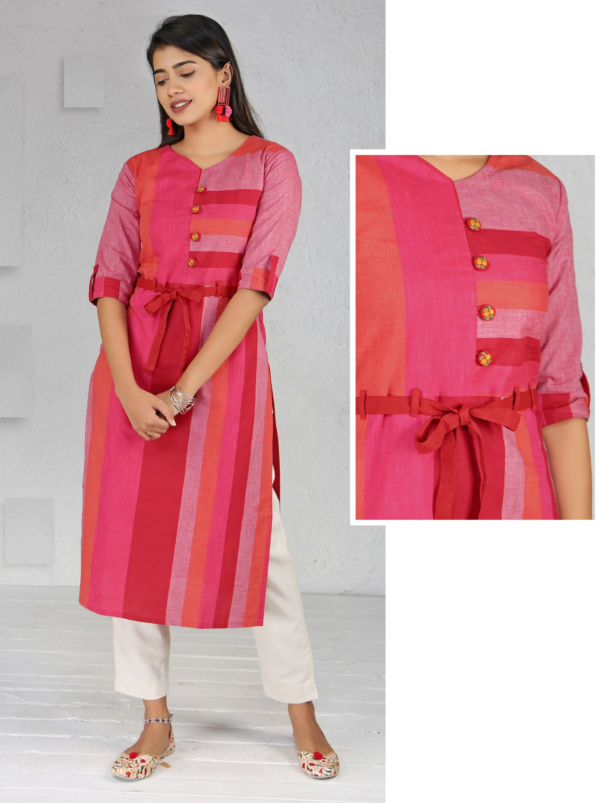 Tie-up Belted Resham Work BUttoned Striped Cotton Kurti