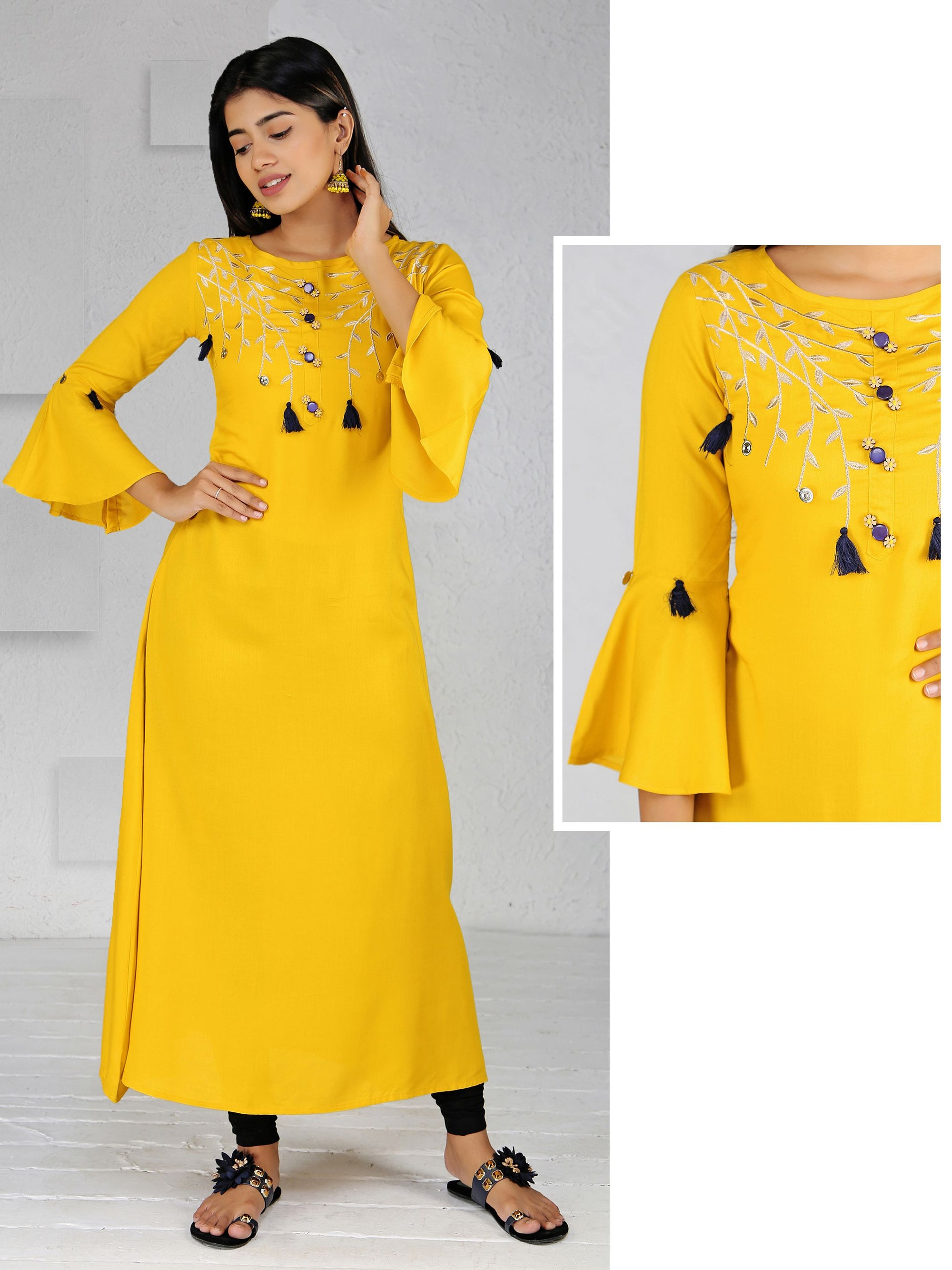 Floral Wooden Buttoned Zari Embroidered Kurti