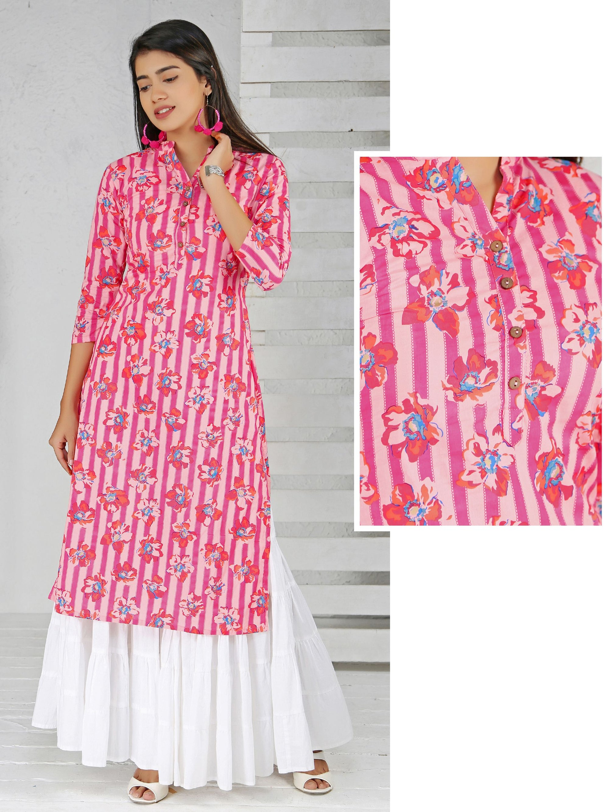 Vibrant Striped & Floral Printed Kurti