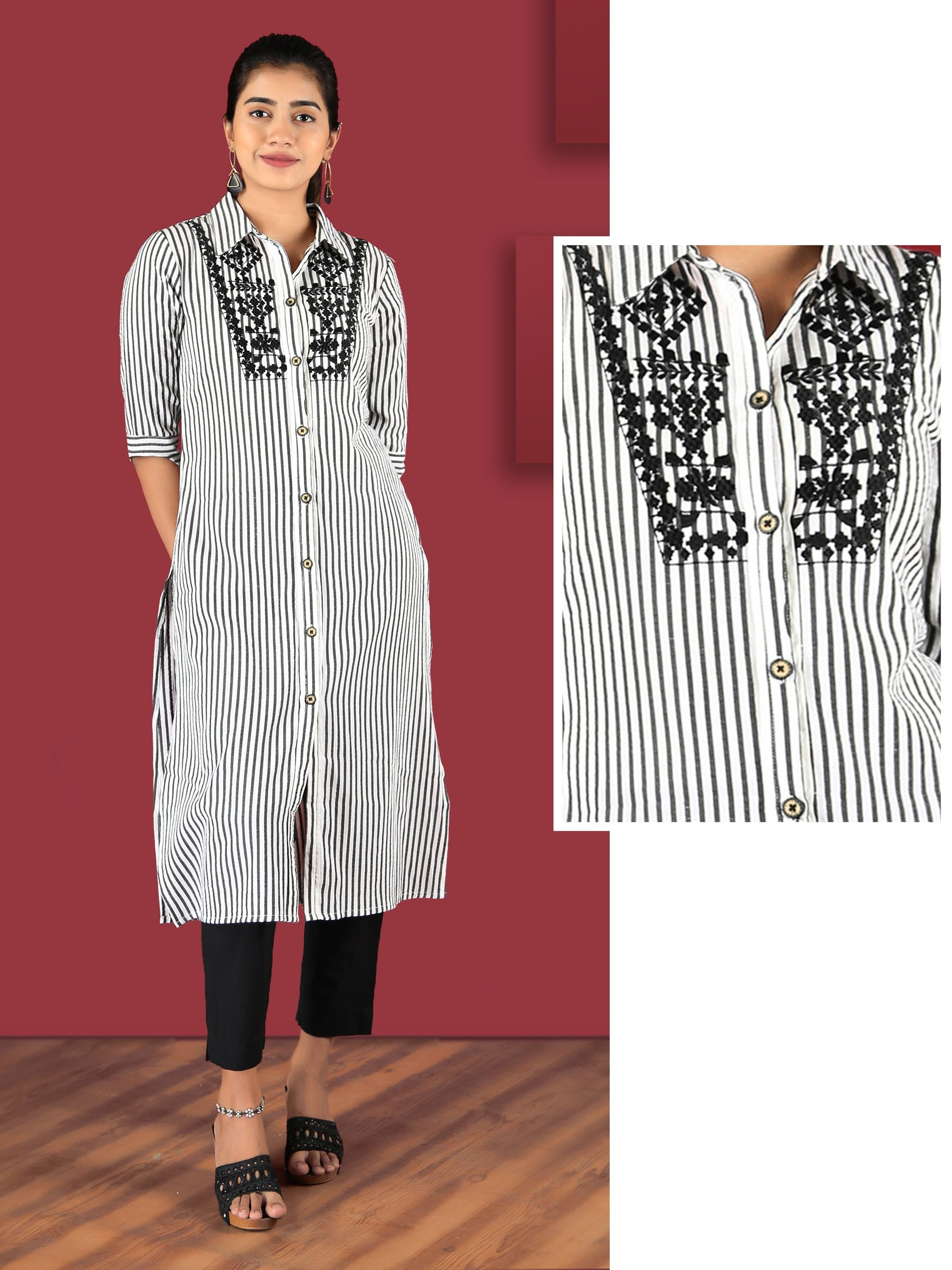 Checked Embroidered Bengal Striped Kurti