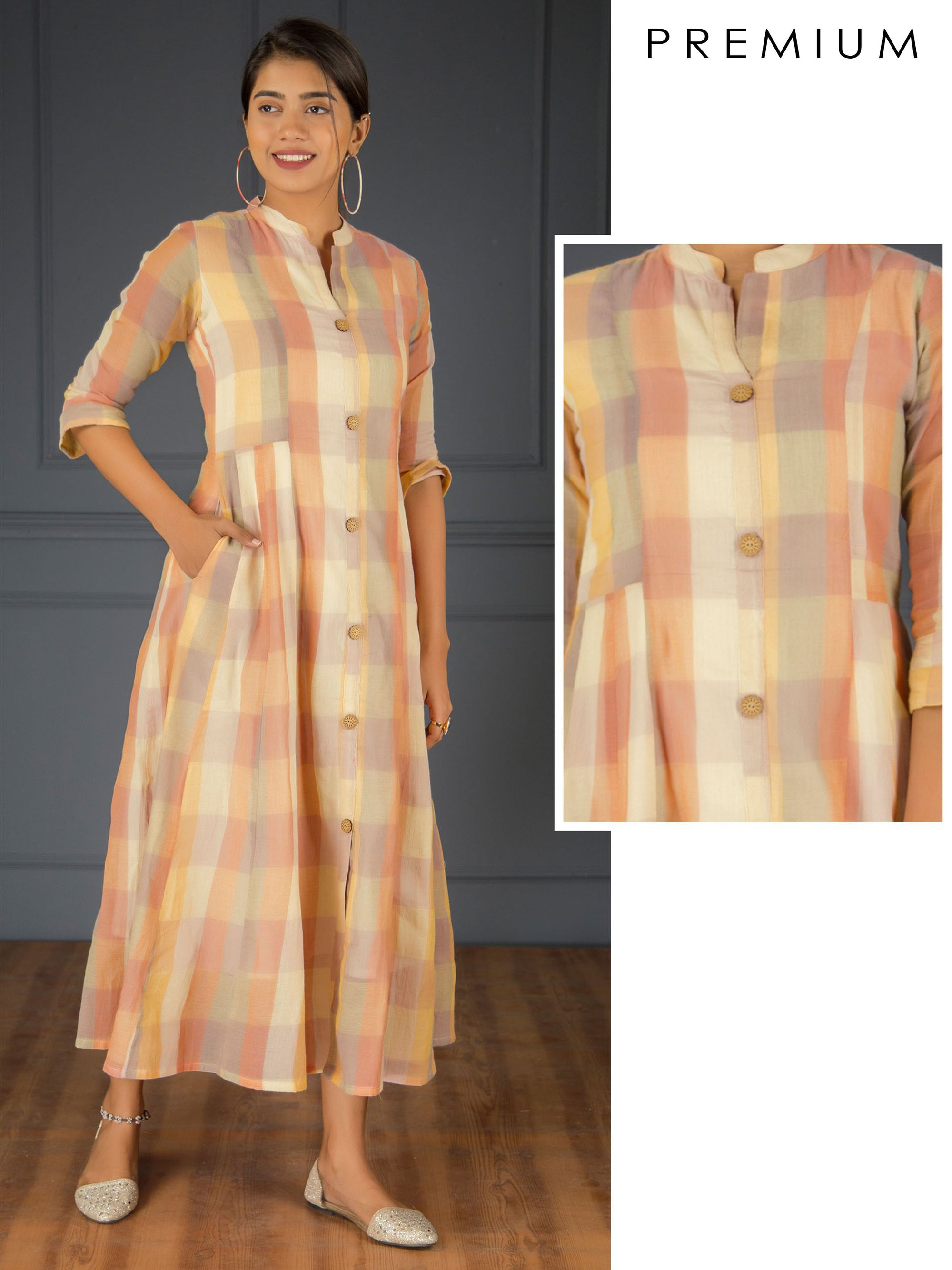 Multi- Color Checkered Long Panel Kurti