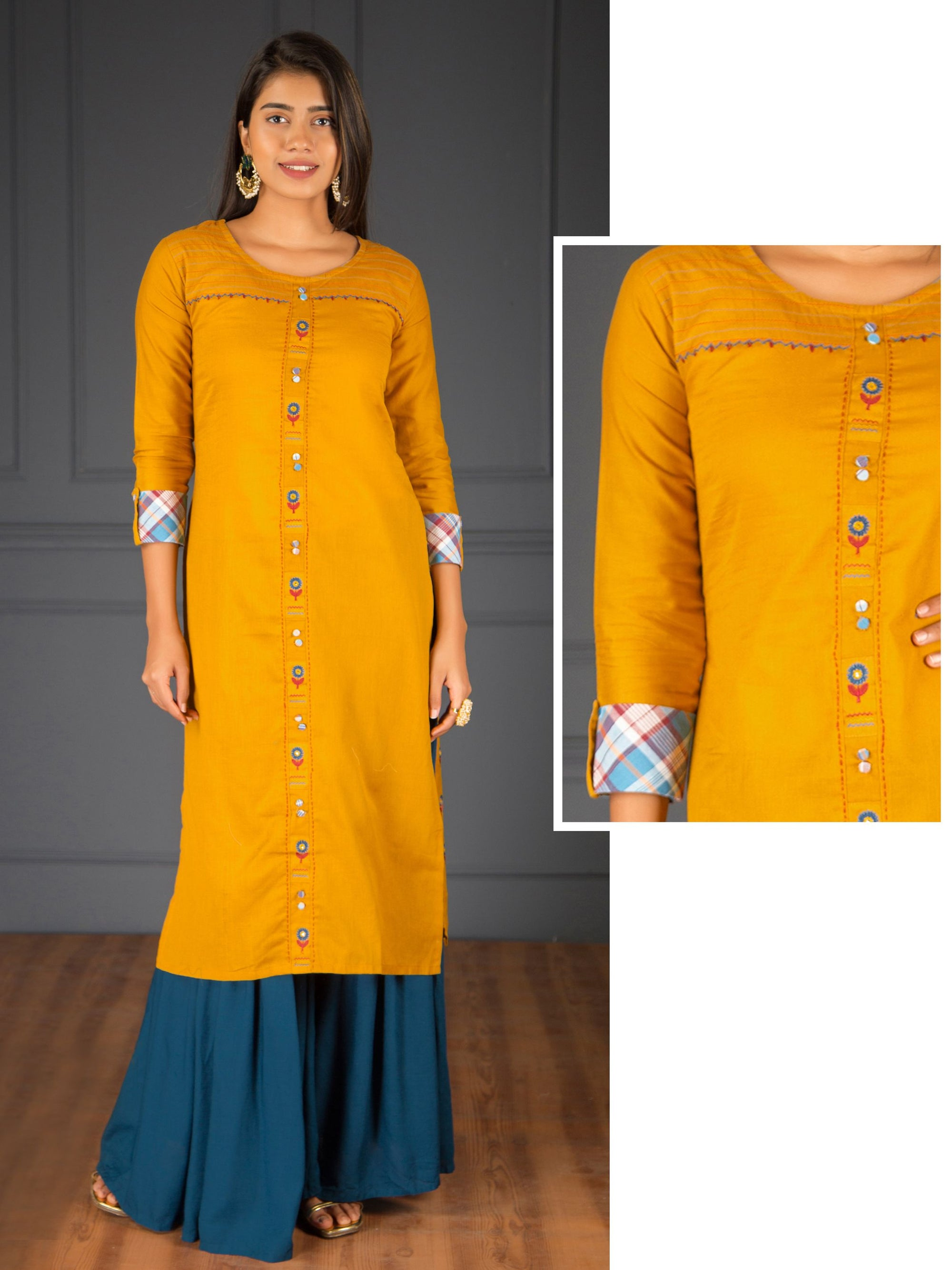 Floral Buta Embroidered & Running Stitched Slub Cotton Kurti