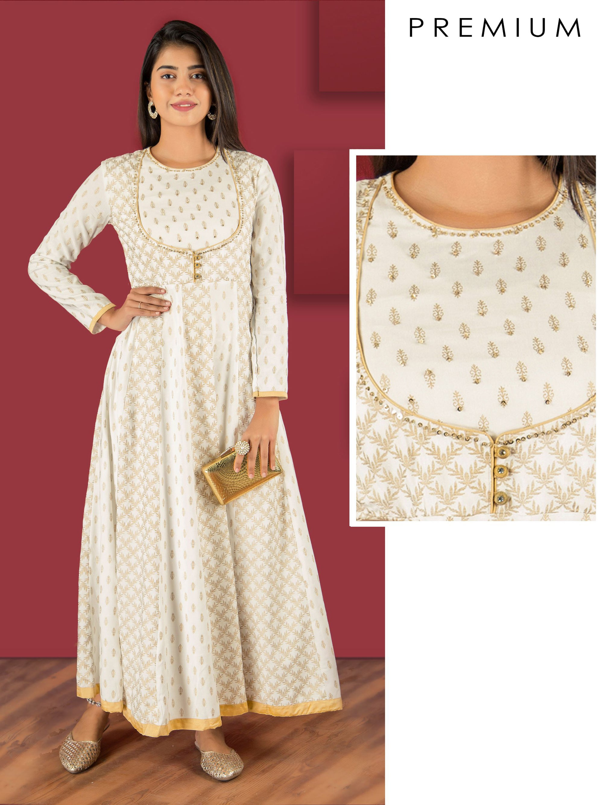 Sequins Embellished Khari Printed Anarkali
