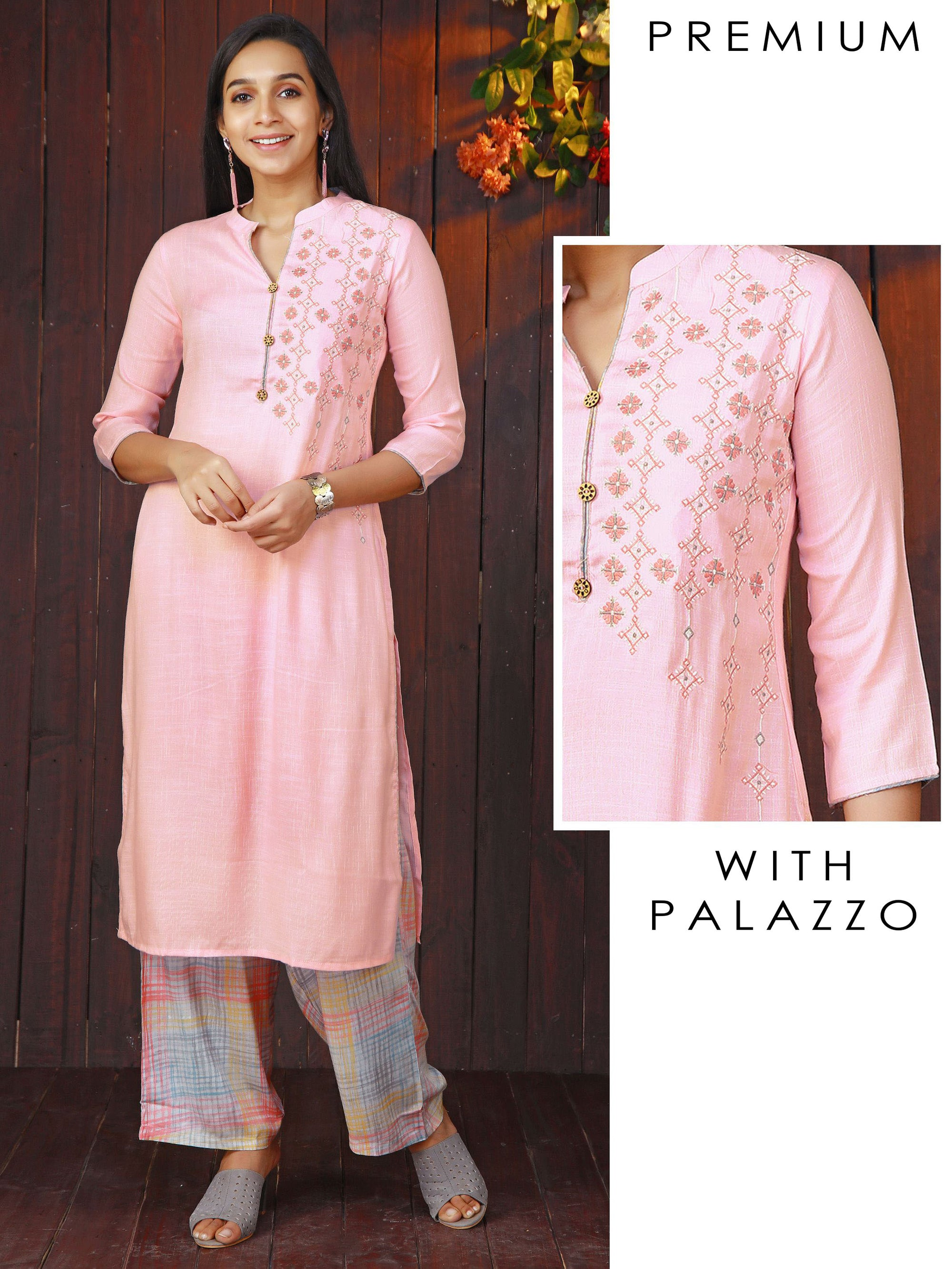 Minimal Embroidered Kurti with Checkered Palazzo Set - Candy Pink