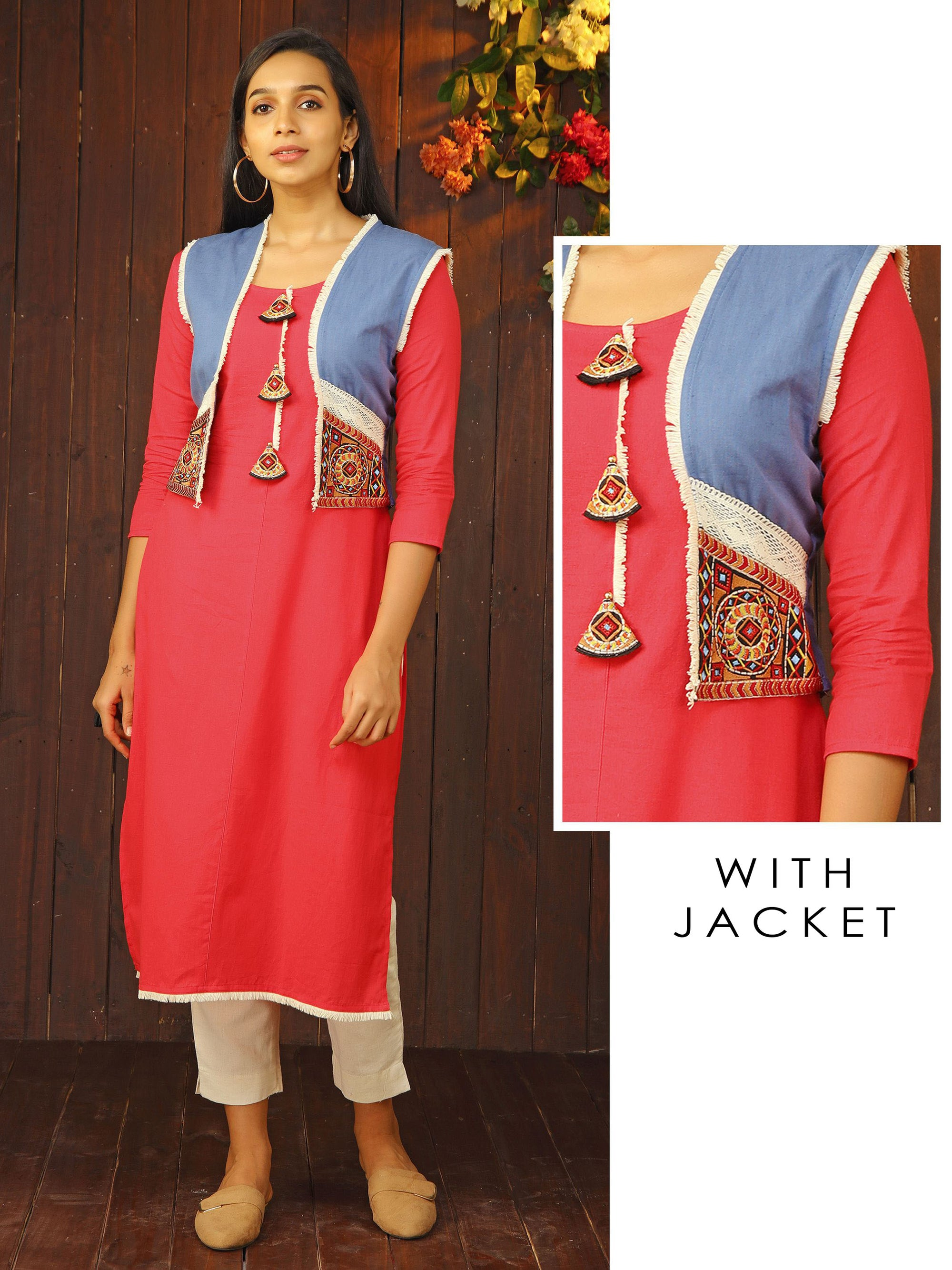 Embroidered Tassel Kurti & Jacket with Fringes