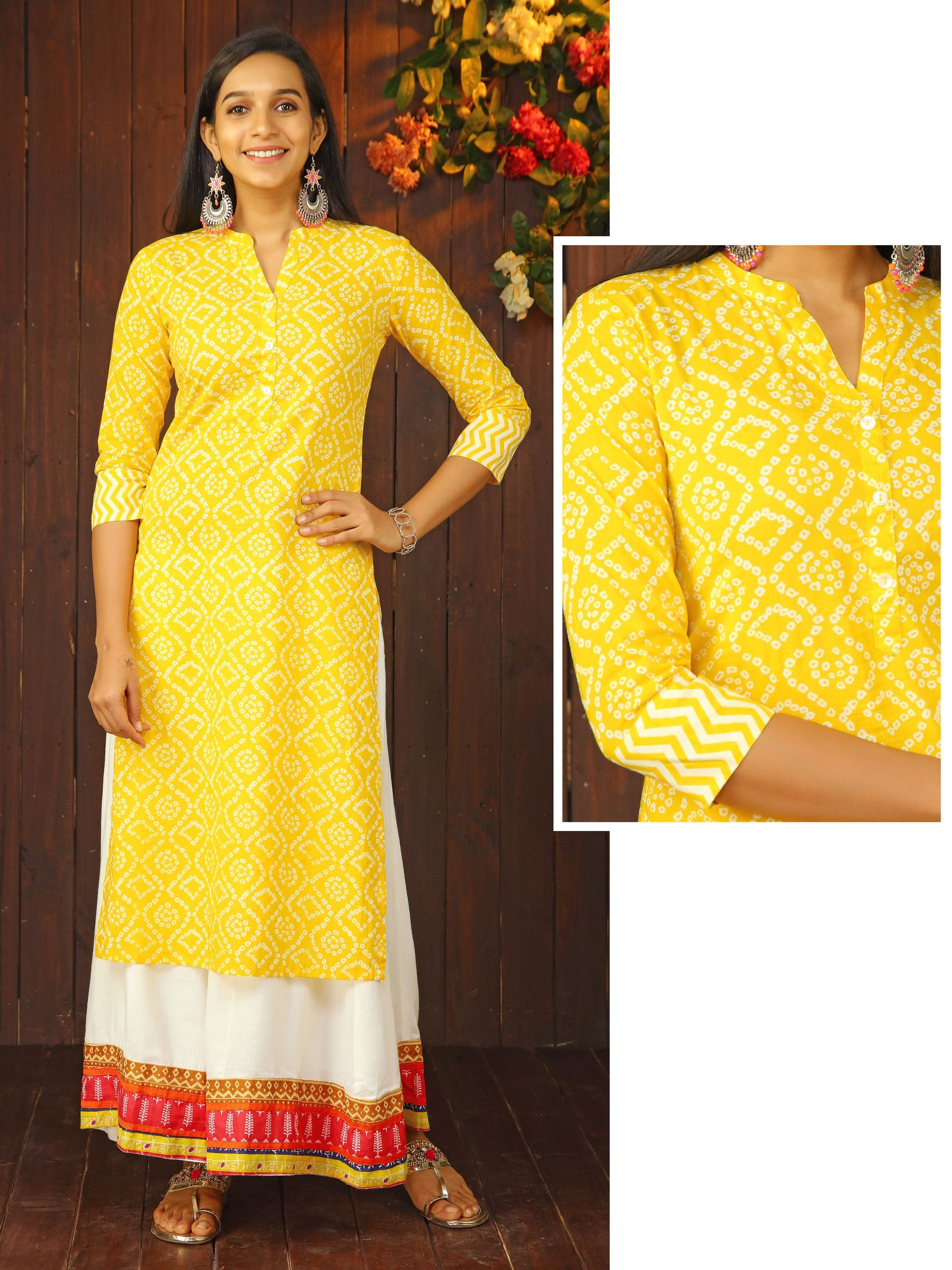 Mother of Pearl Buttoned Bandhani Printed Kurti - Yellow