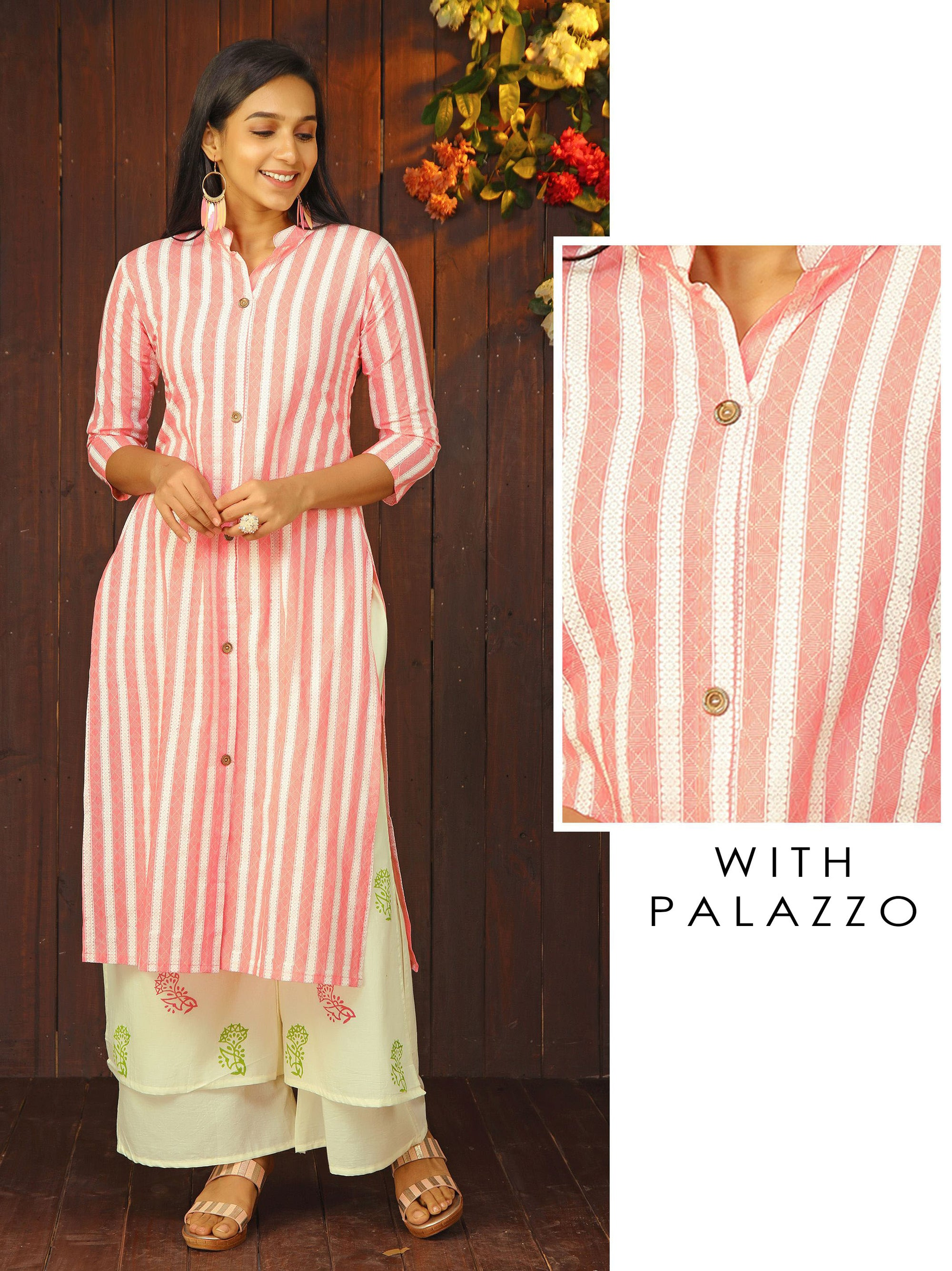 Cabana Striped Kurti & Floral Printed Layered Palazzo Set