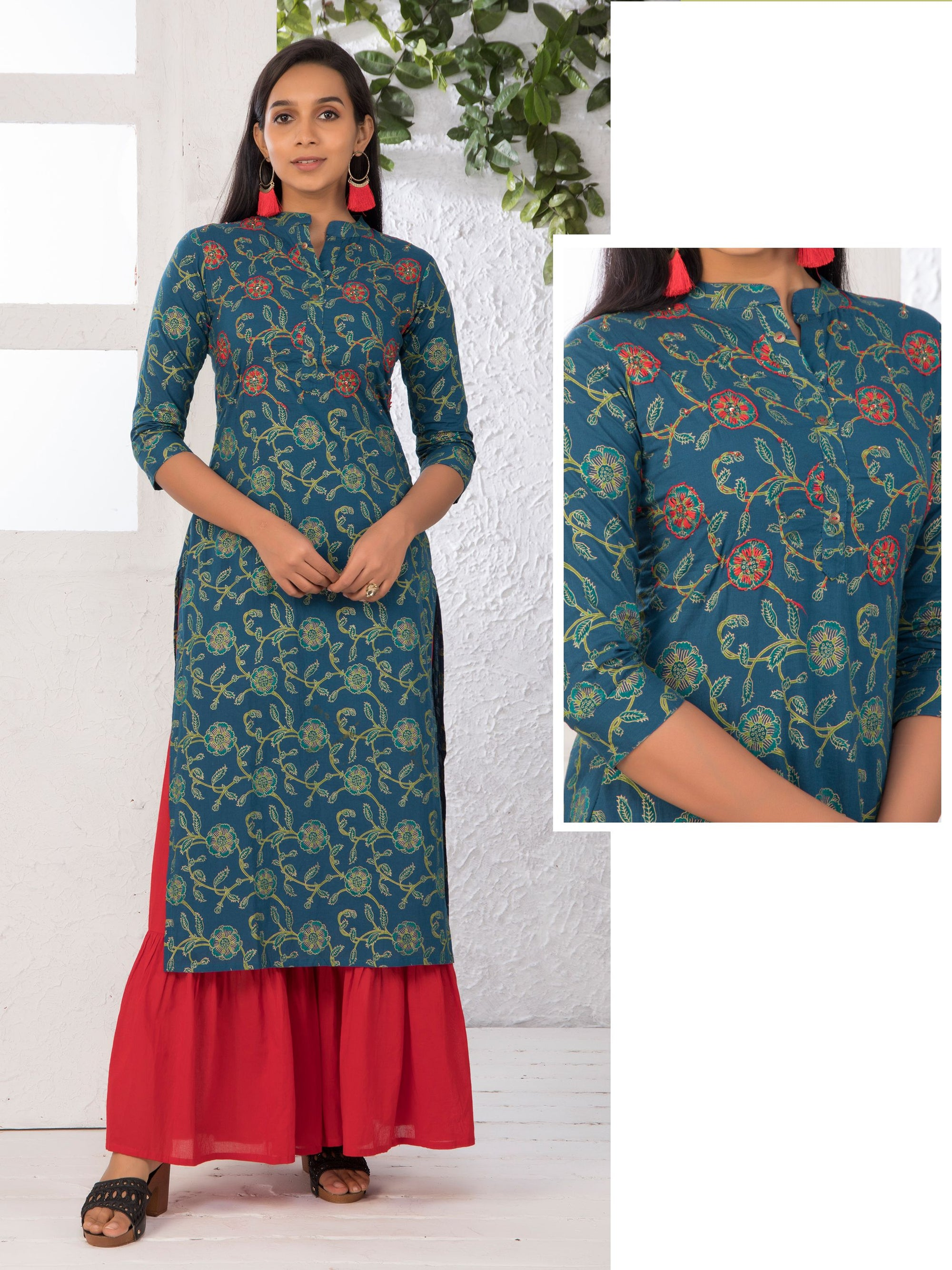 Floral Embroidered Foil Printed Kurti – Prussian Blue