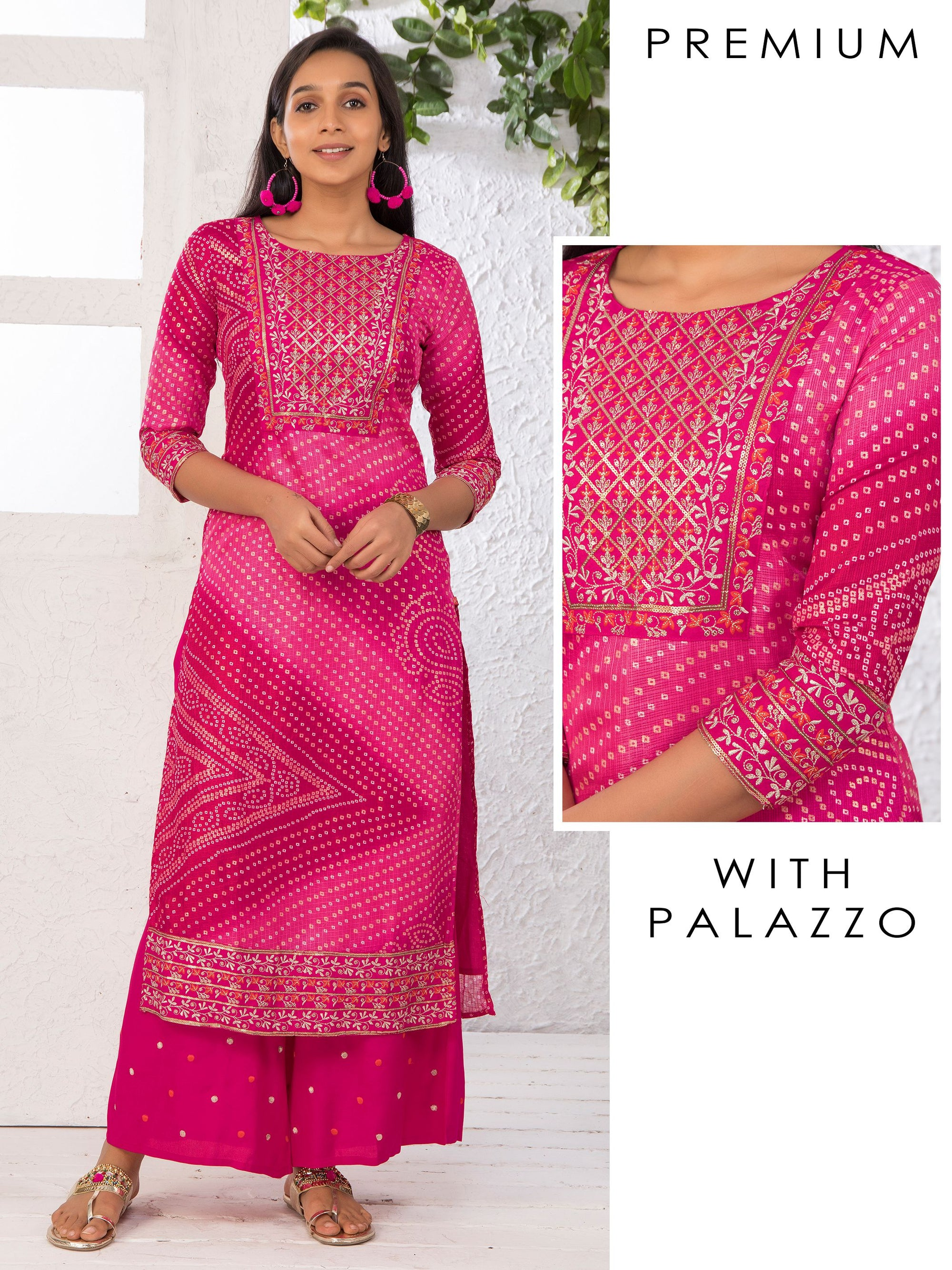 Zari Embroidered Sequins Kurti & Solid Palazzo Set - Fuschia Pink