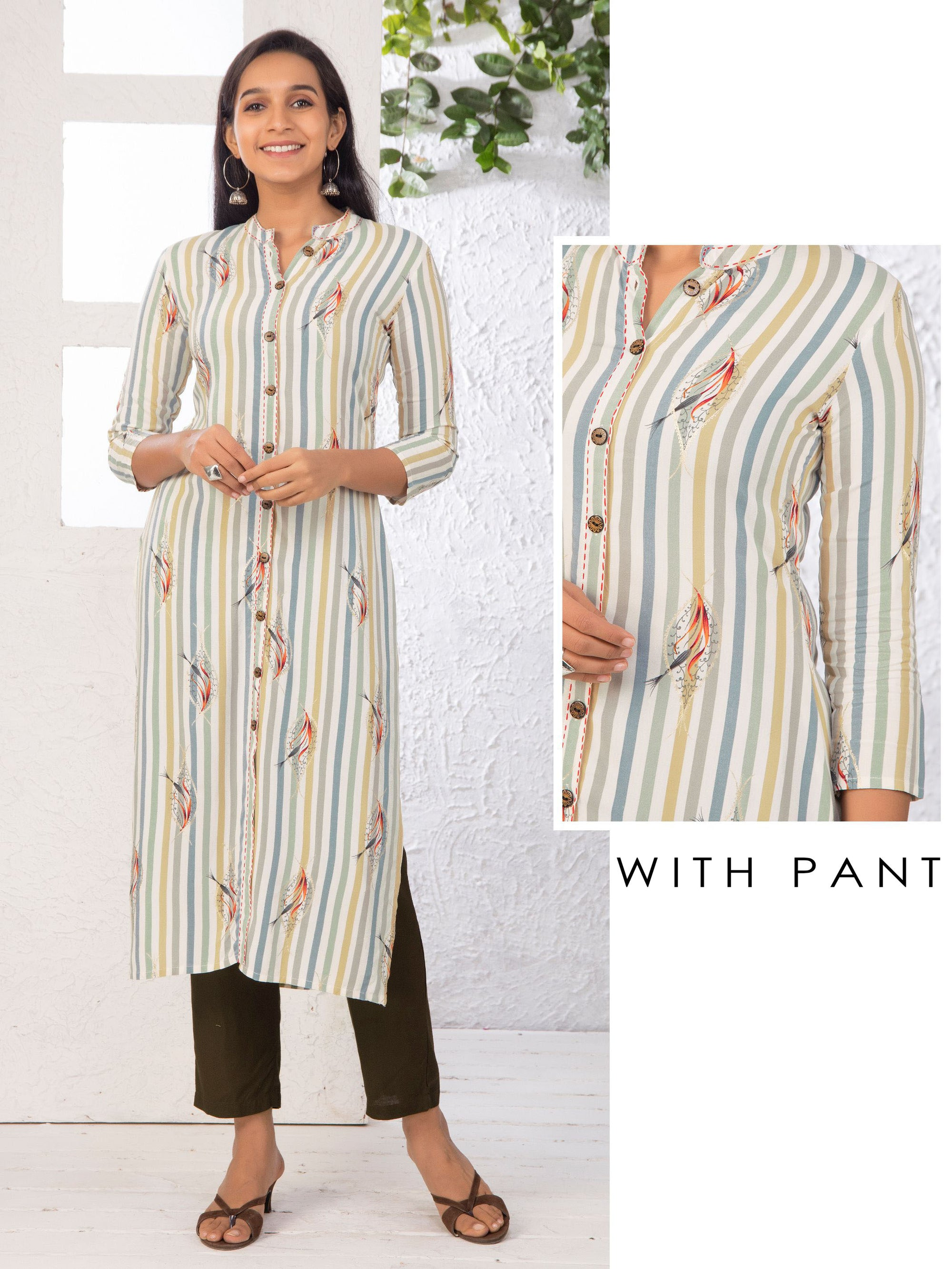 Abstract Leaf Printed & Cabana Striped Kurti with Solid Pant