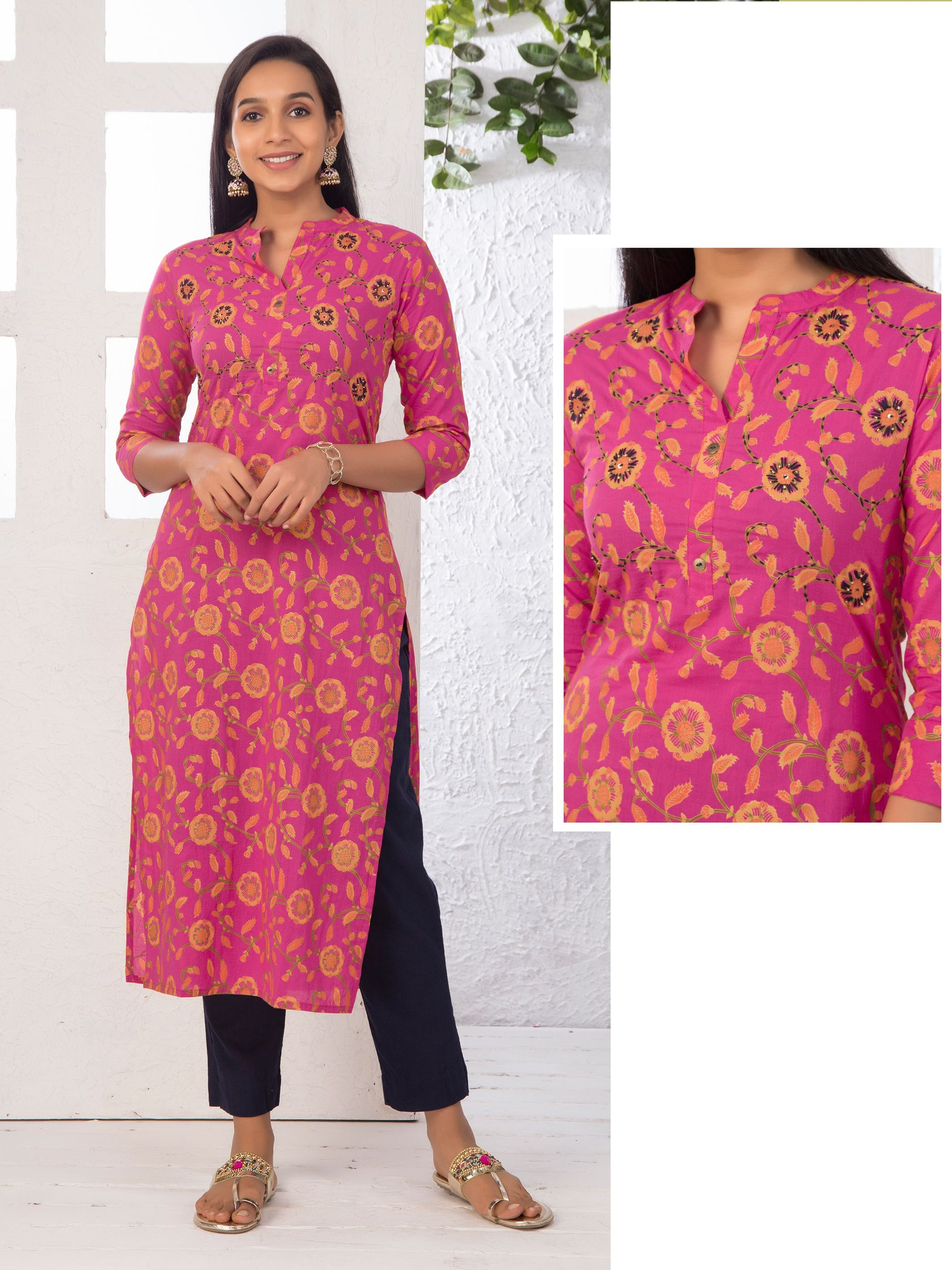 Floral Embroidered Foil Printed Kurti – Rani Pink