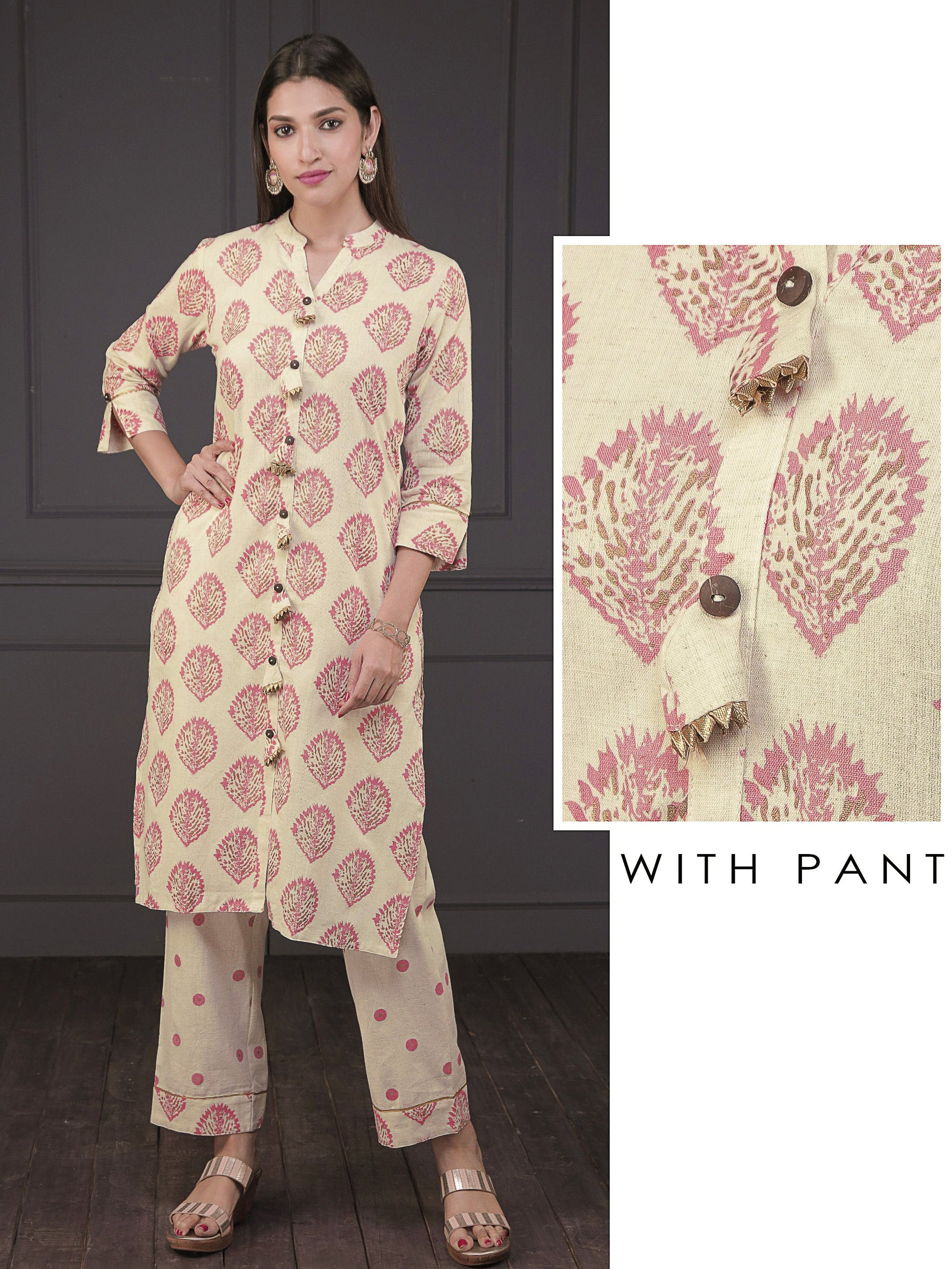 Abstract Leaf Printed Kurti & Polka Dotted Parallel Pant Set