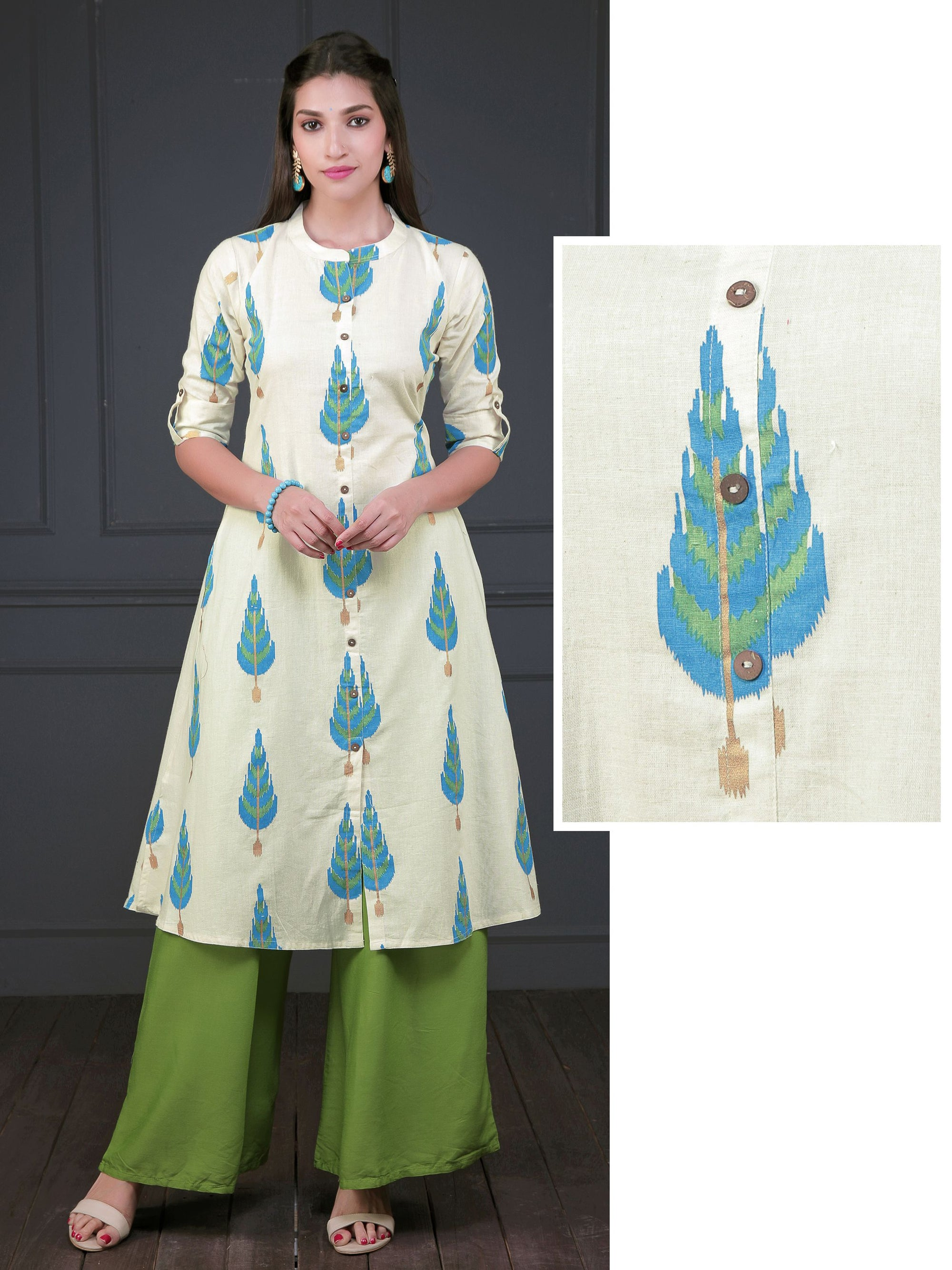 Autumn Leaf Printed Coconut Shell Buttoned Panel Kurti - Light blue