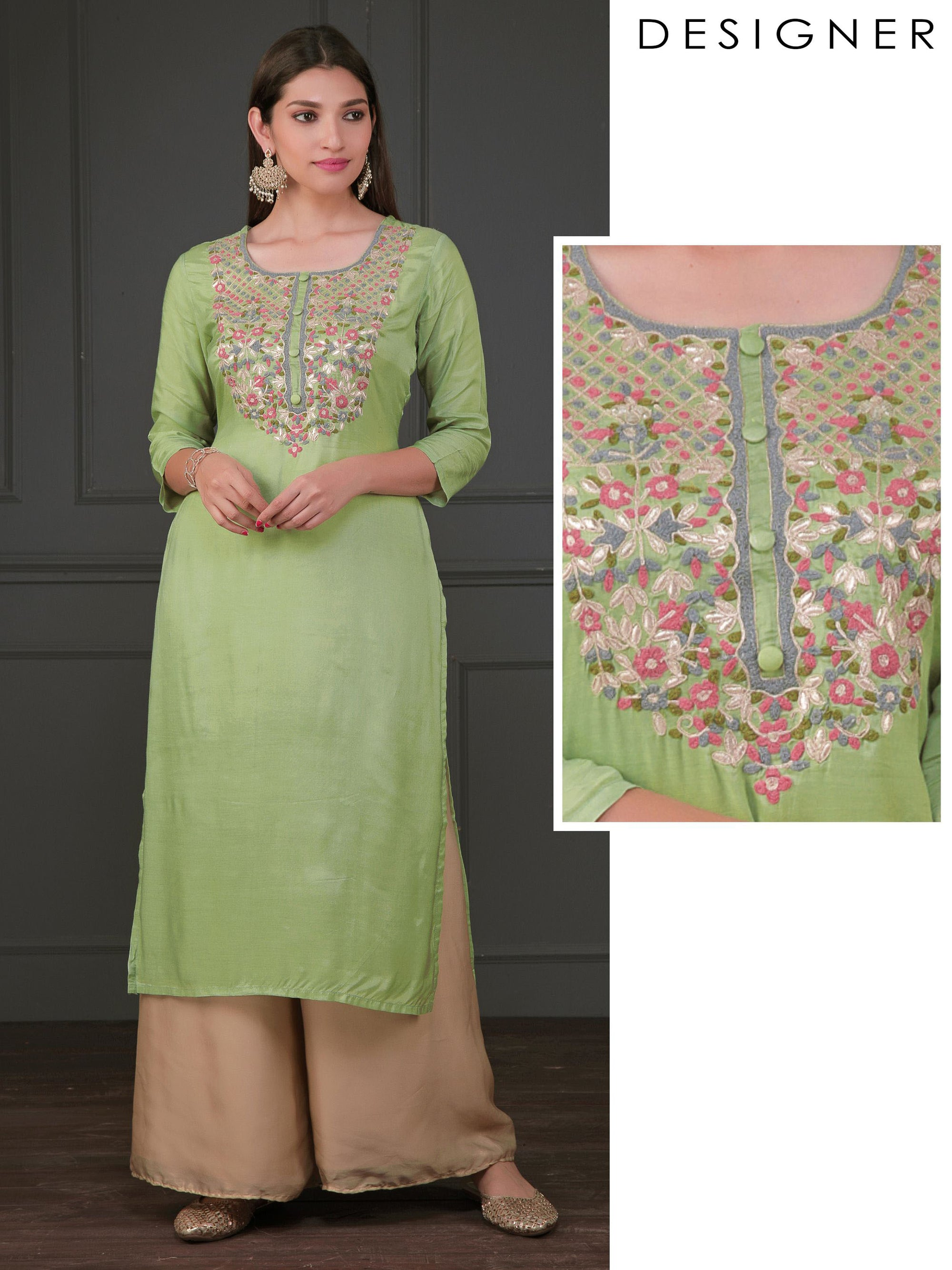 Zari Cord & Floral Embroidered Cotton Kurti - Mint Green