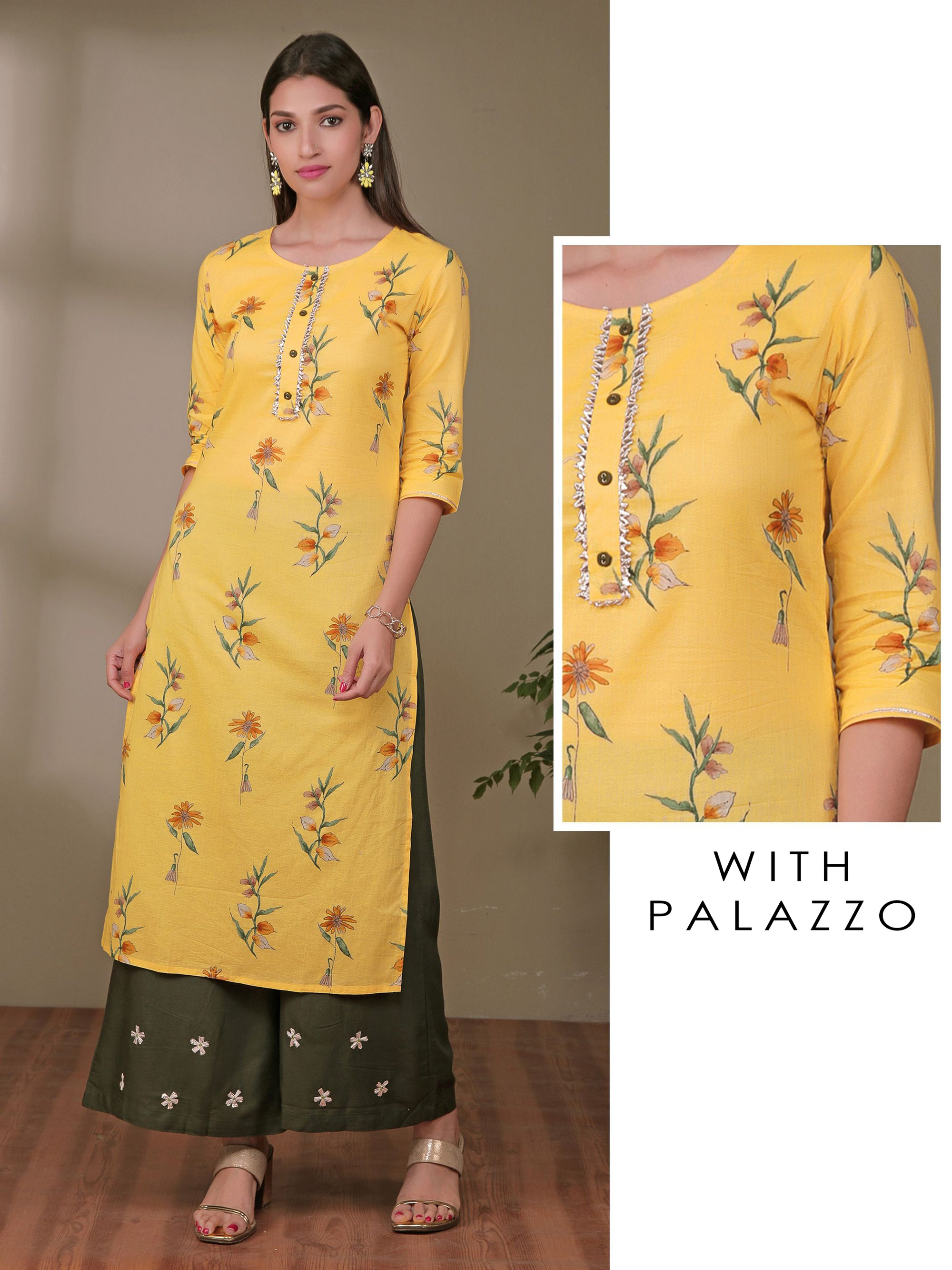 Floral Kurta With Gota Flower Palazzo - Yellow