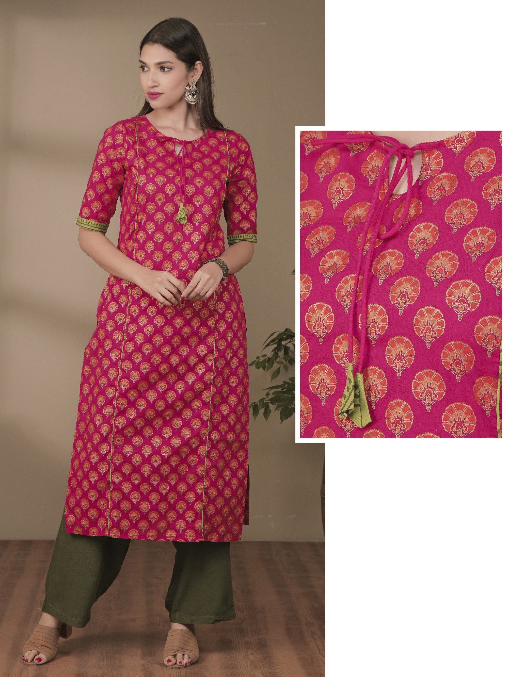 Contrast Floral Embroidered Foil Printed Panel Kurti