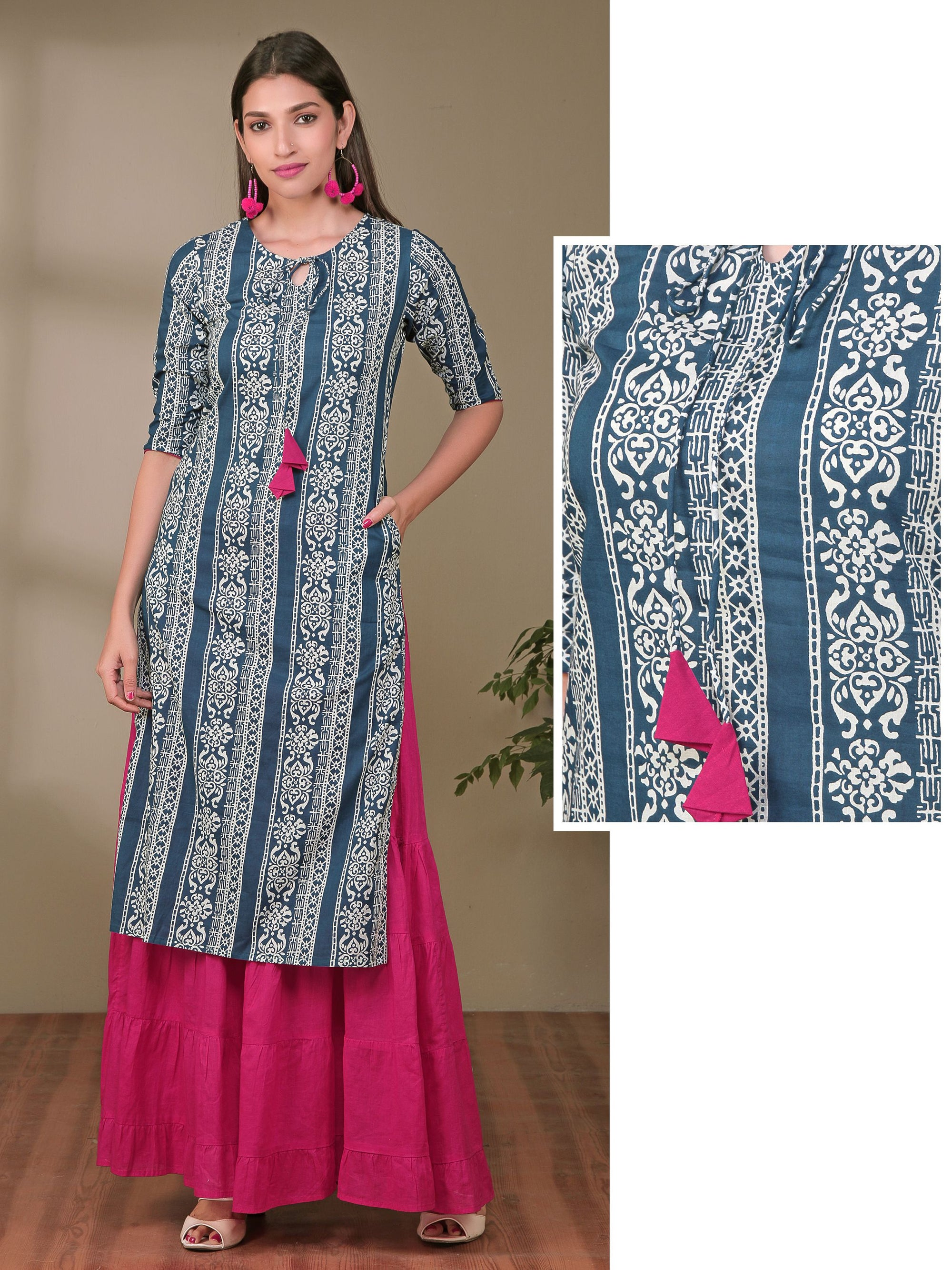 Floral Striped Tie-Up Neck Cotton Kurti