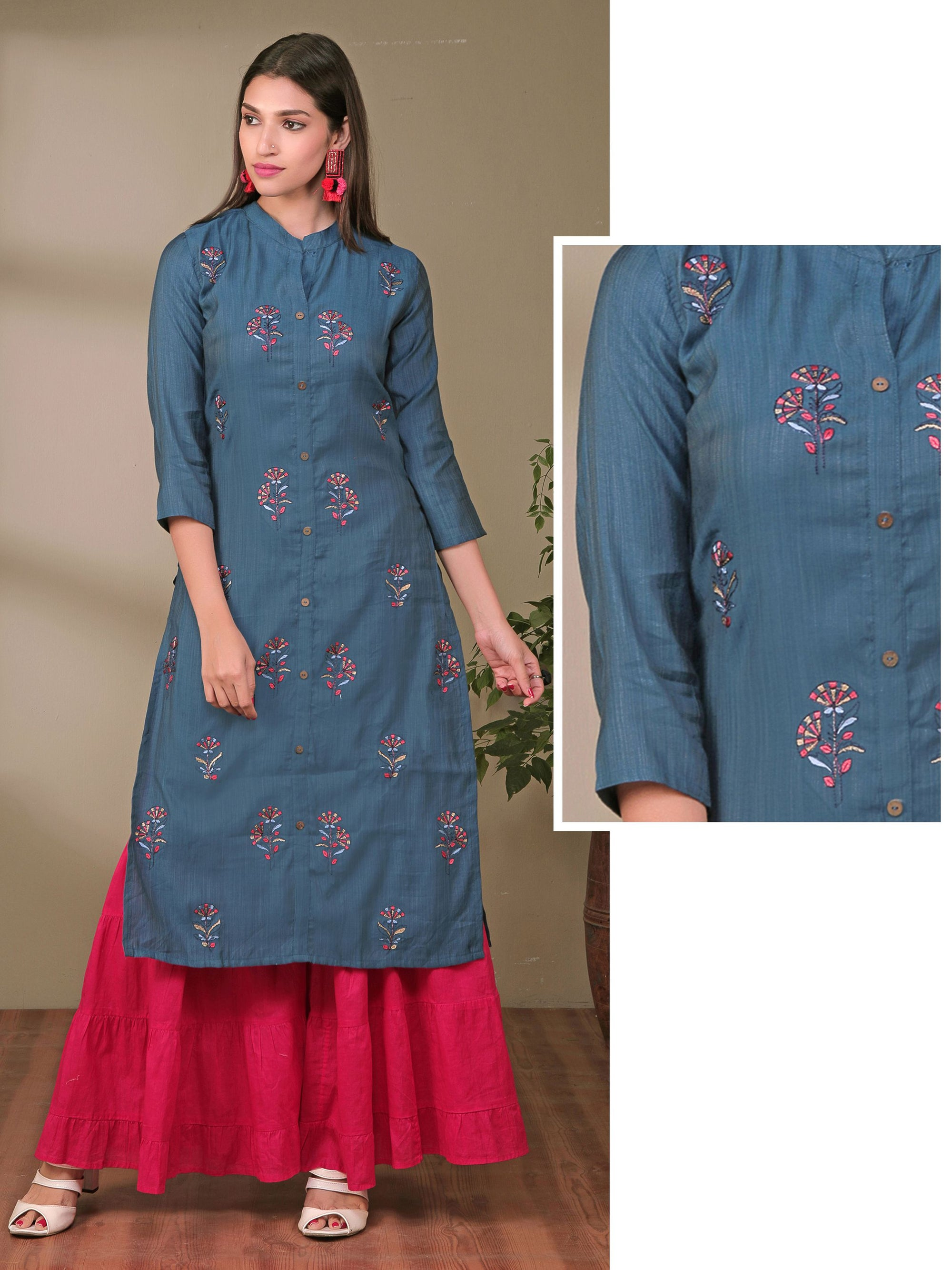 Resham & Zari Flower Buta Work Cotton-Twill Kurti – Dark Blue