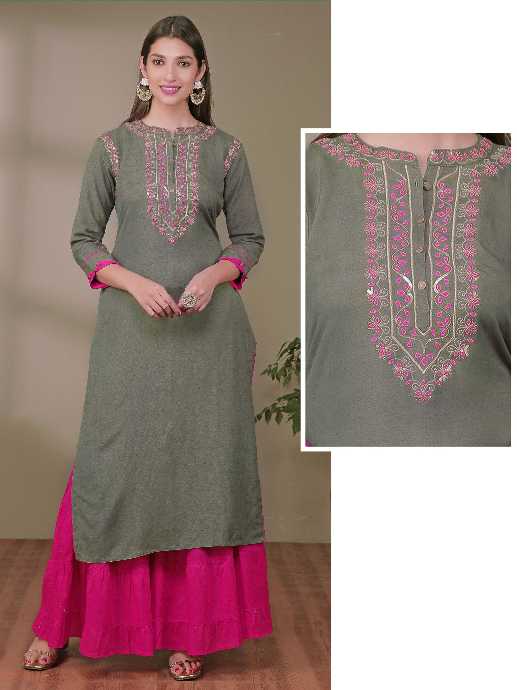 Sequin & Zari Embroidered Cotton Kurti
