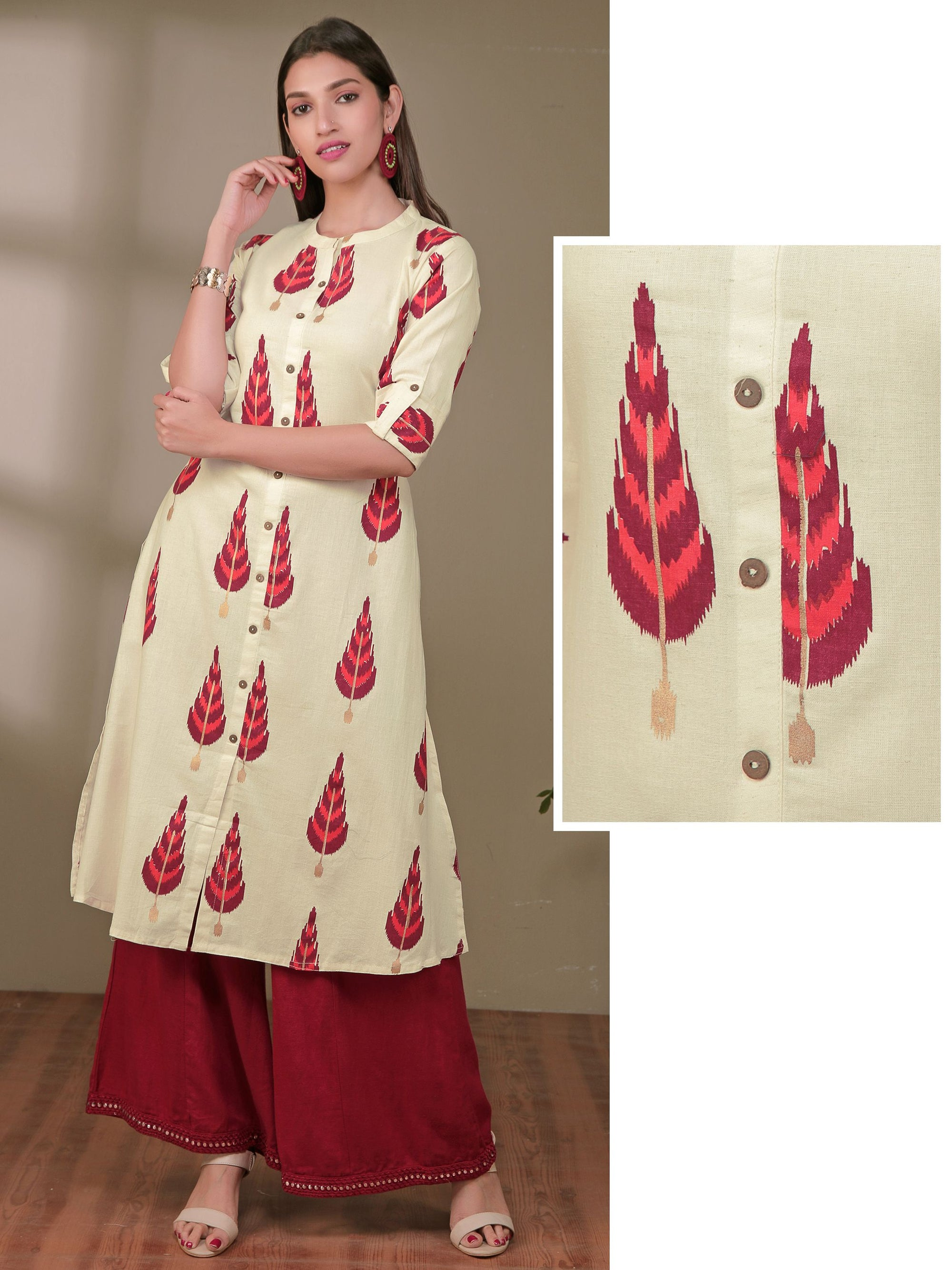Autumn Leaf Printed Coconut Shell Buttoned Panel Kurti - Off-White