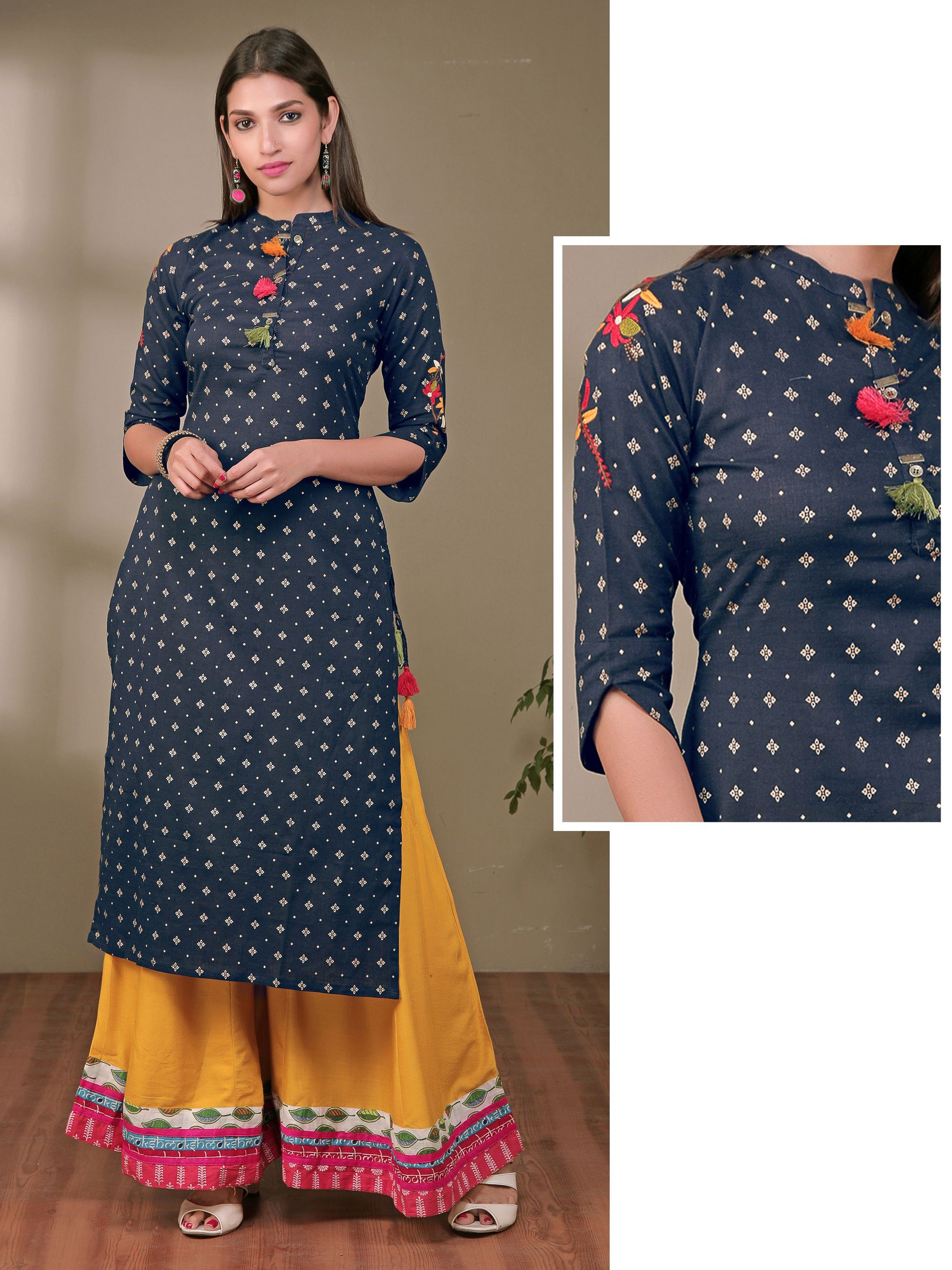 Embroidered & Tassel detail Printed Kurti - Dark Blue