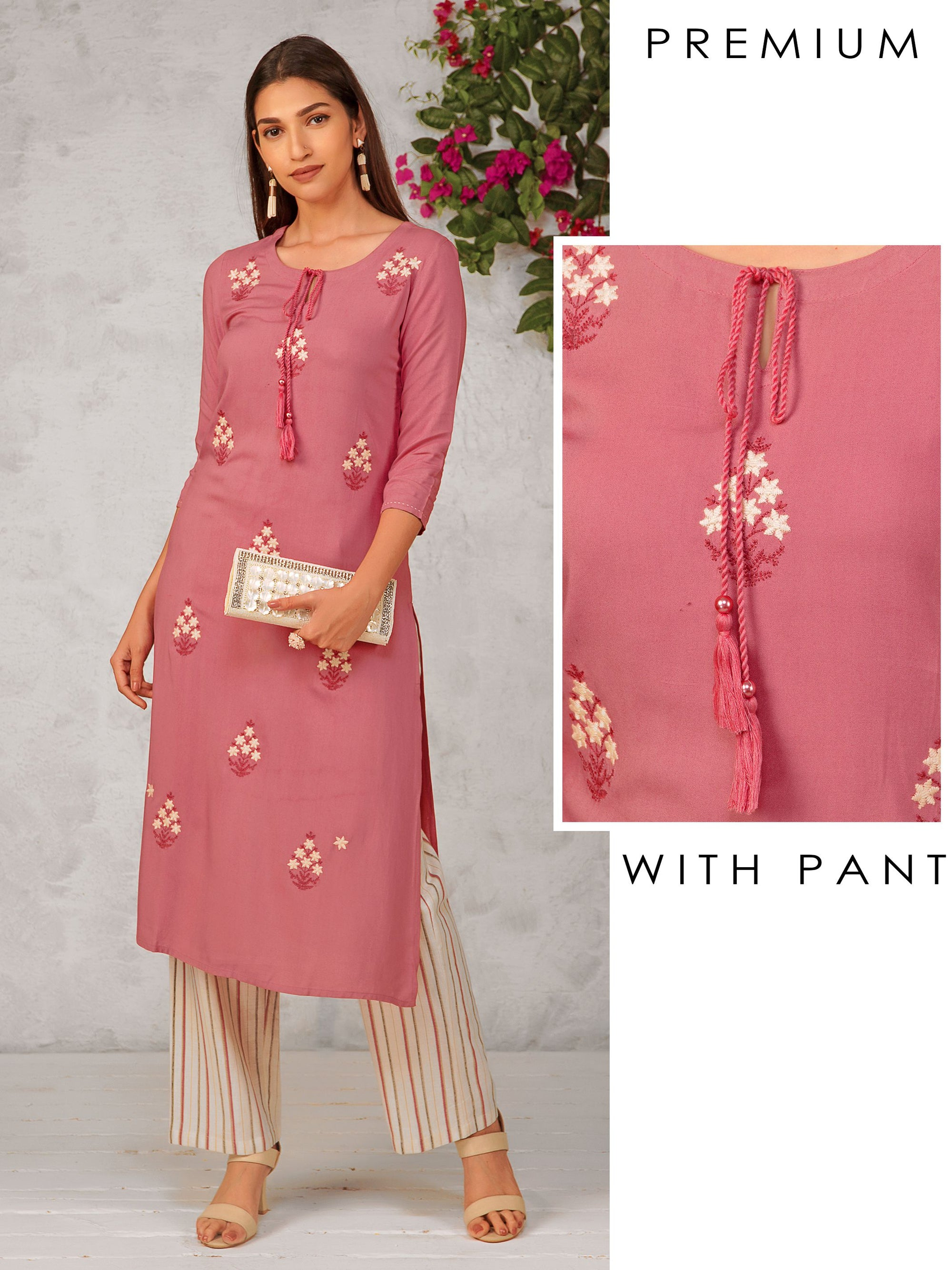 Minimal Floral Embroidered Kurti & Shadow Striped Pant Set
