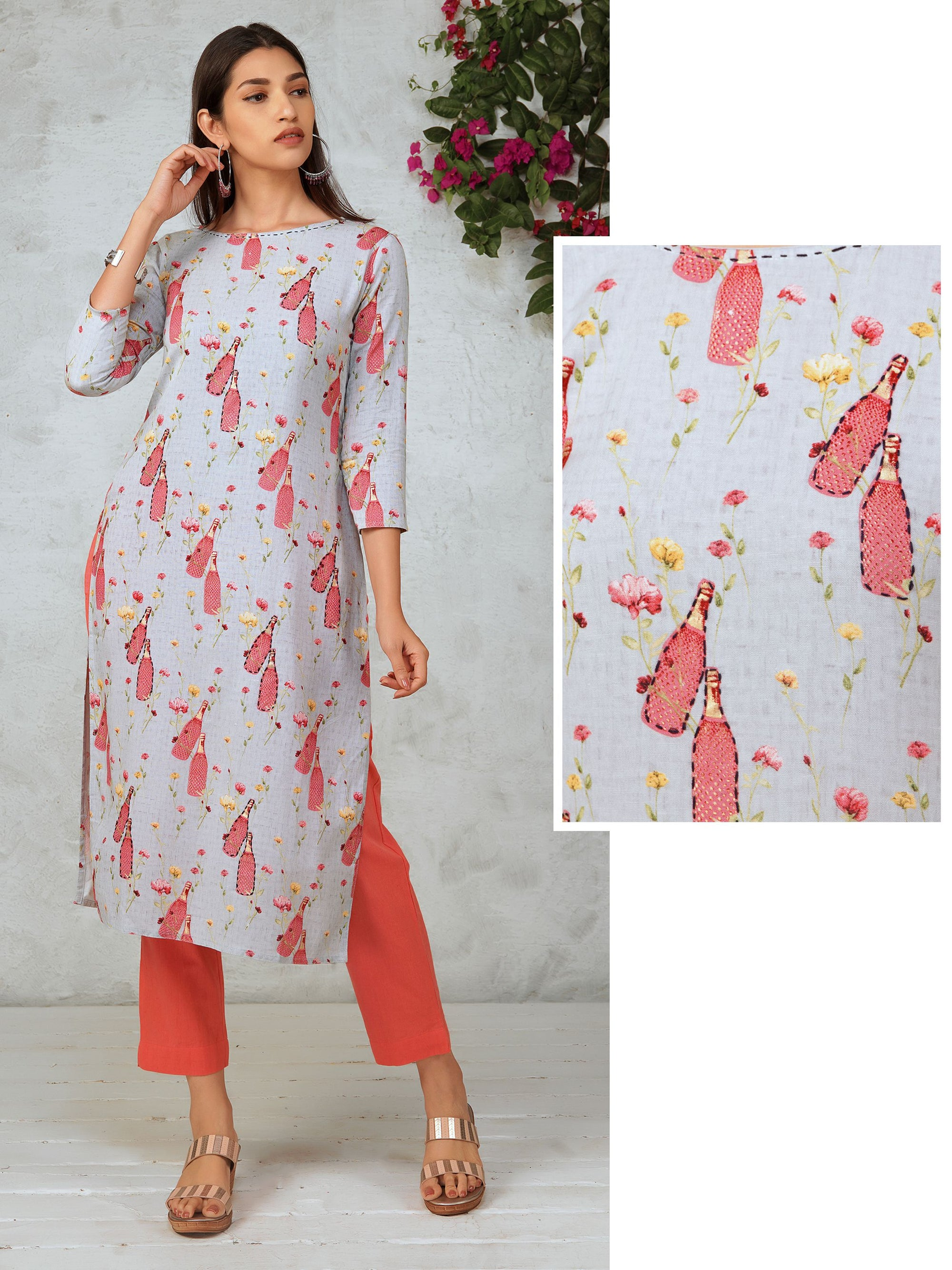 Wine Bottle & Minimal Floral Printed Cotton Kurti