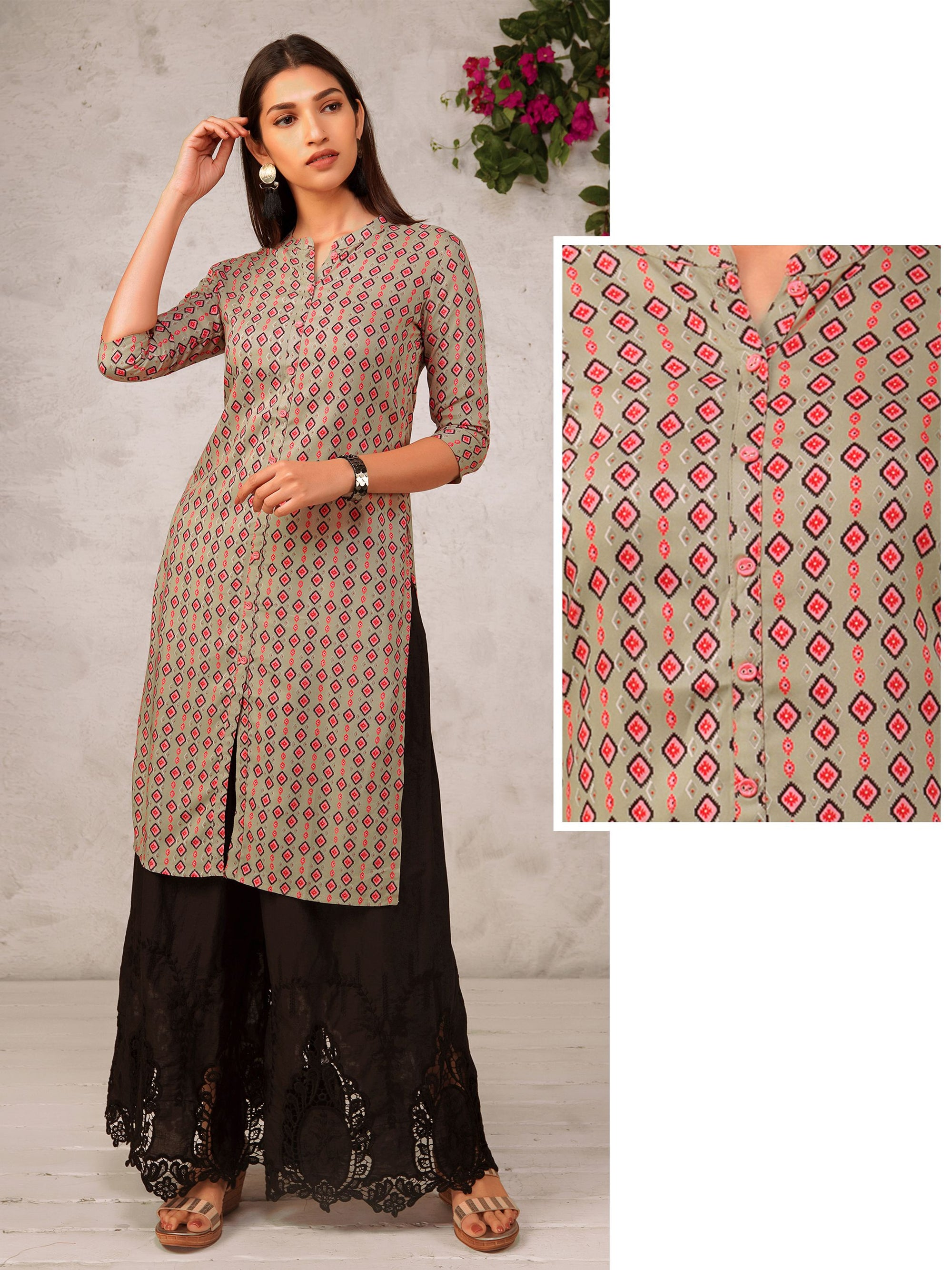 Abstract Diamond Printed Kurti