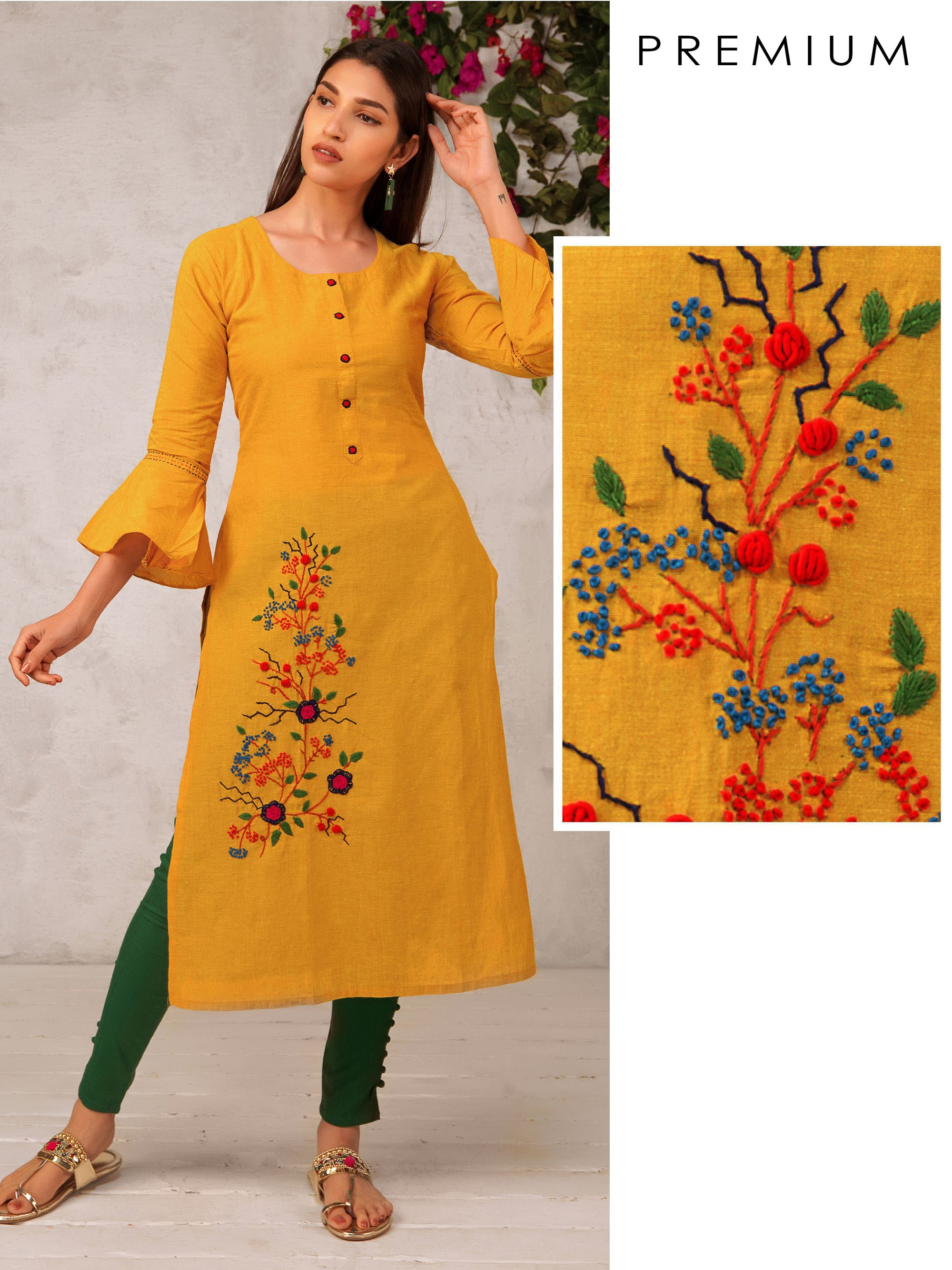 Floral Embroidered Kurta With Running Stitch Design On Bell Sleeves
