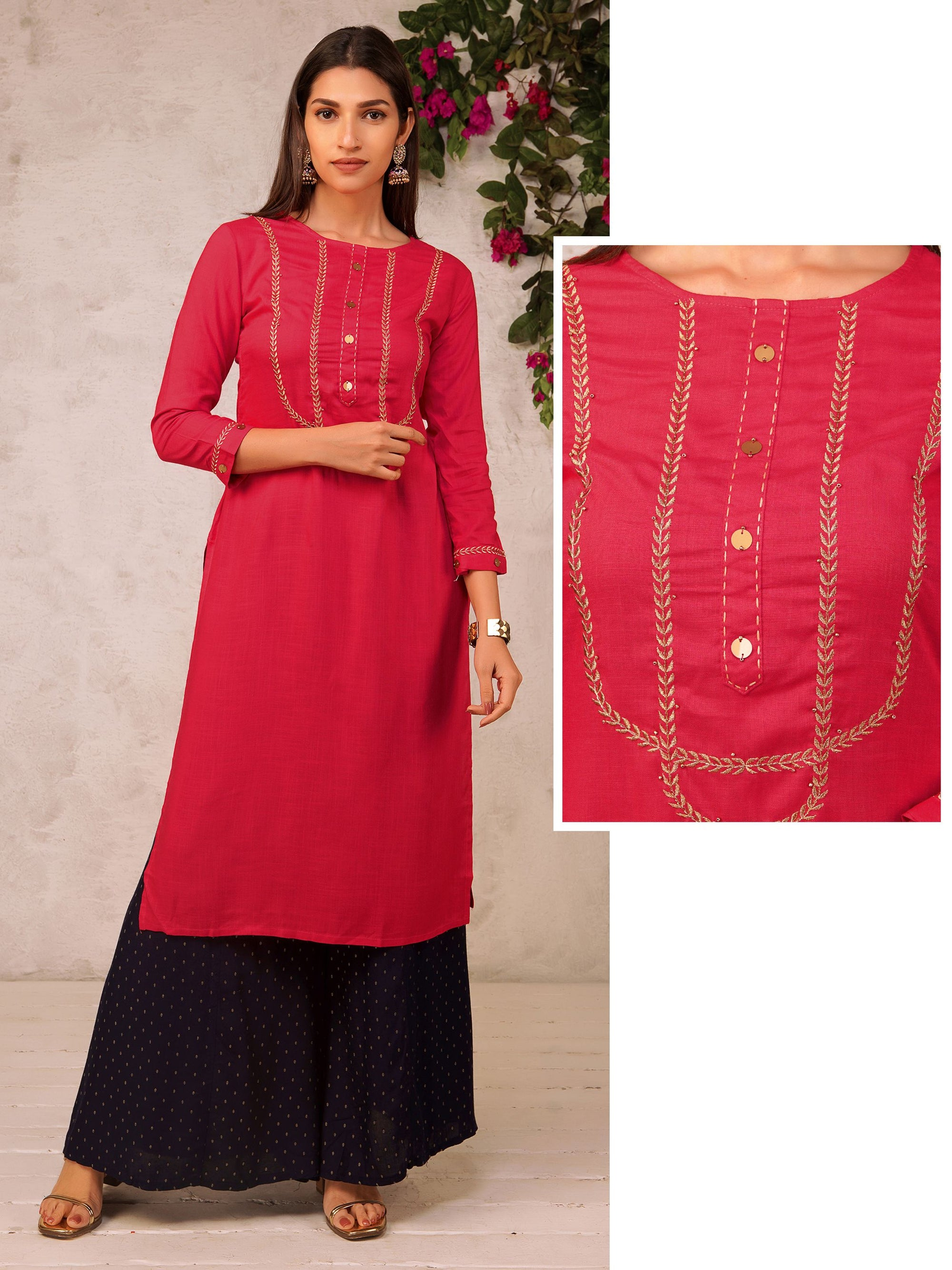 Golden Leaf Embroidered Kurta With Sequins Button – Pink