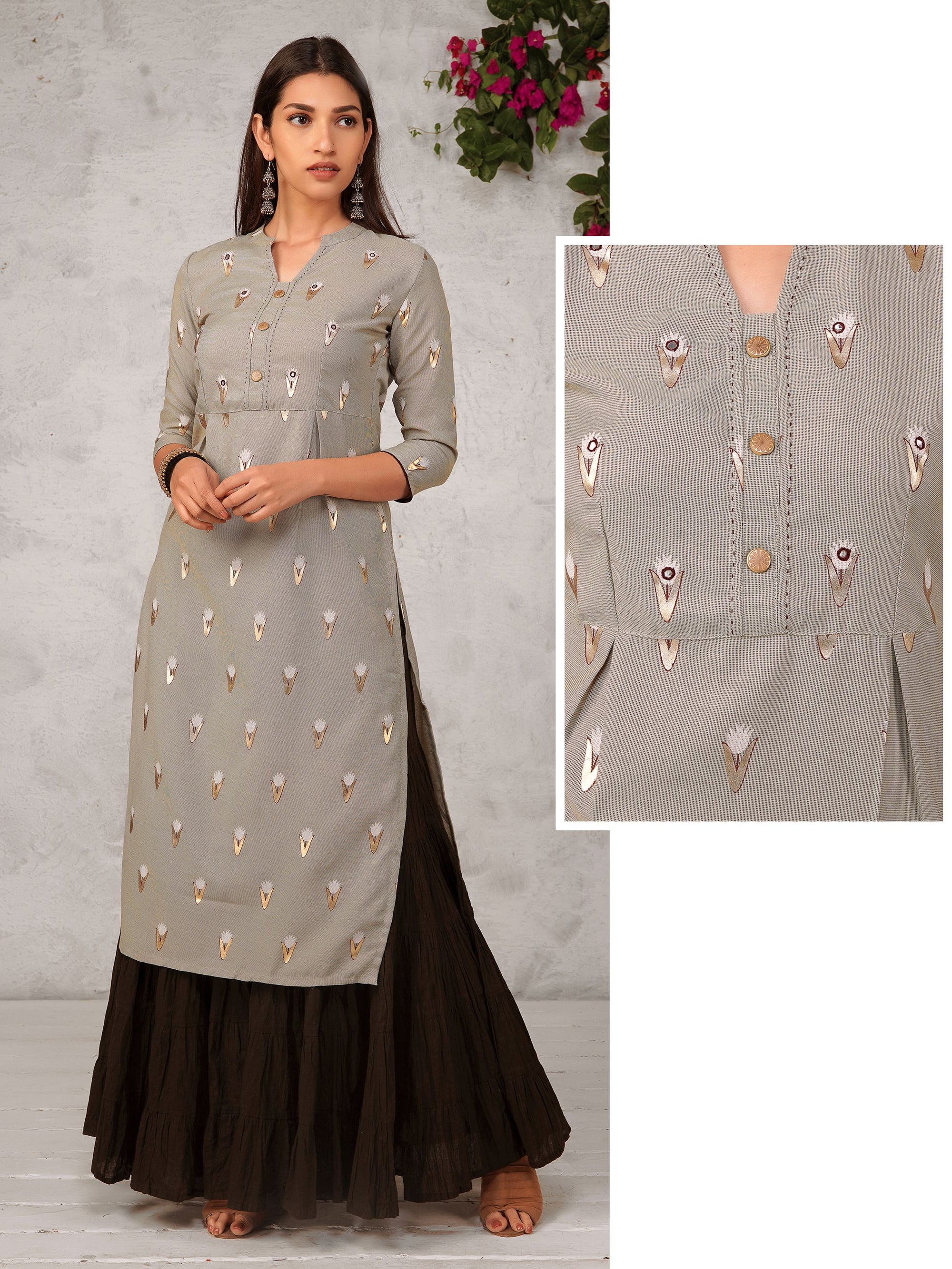 Minimal Floral Print & Mirror Worked Dual Cotton Kurti