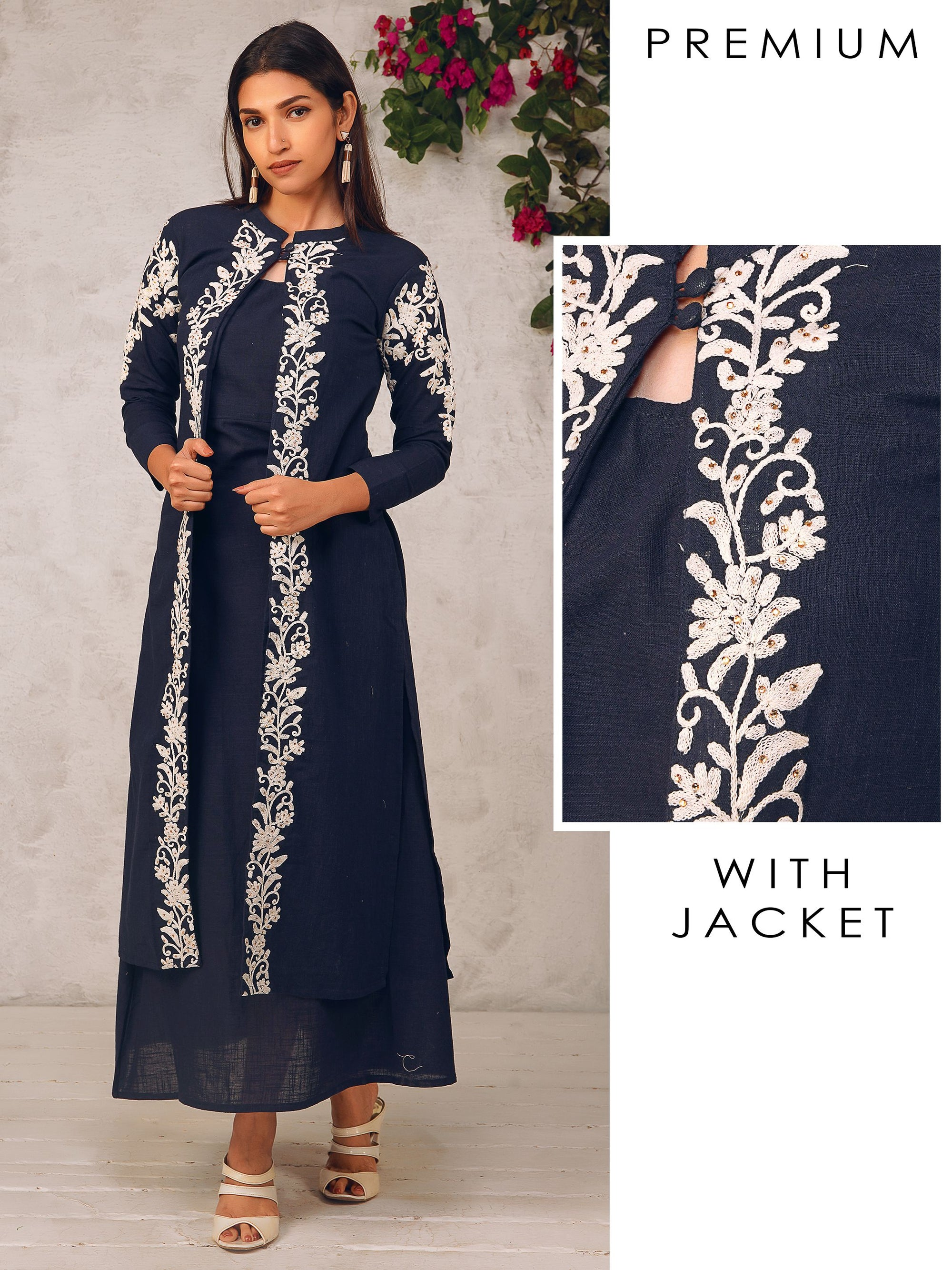 Cord Embroidered Detachable Jacket with Solid Maxi
