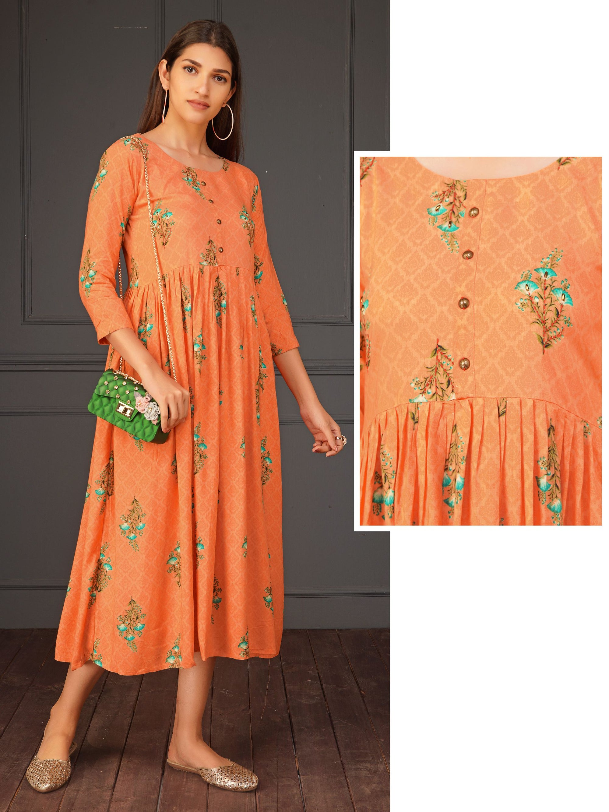 Chic Floral Print With Running Stitch A-line Dress - Peach