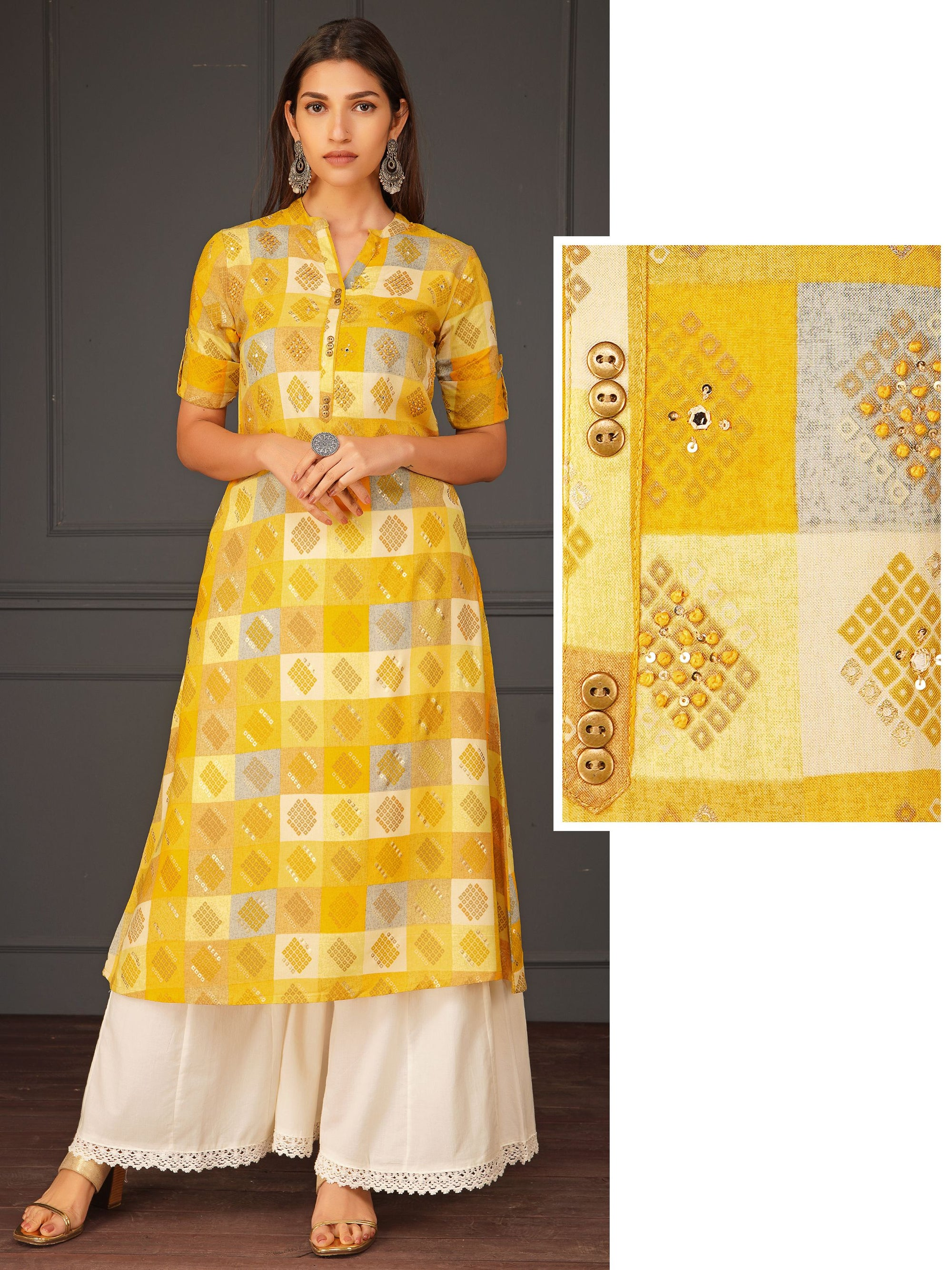 Checkered Printed Kurta With Foil Mirror Work With Sequins - Yellow